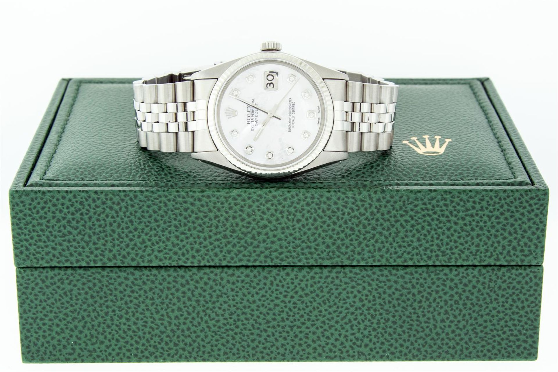 Rolex Mens Stainless Mother Of Pearl Diamond 36MM Datejust Wristwatch With Rolex - Image 8 of 9