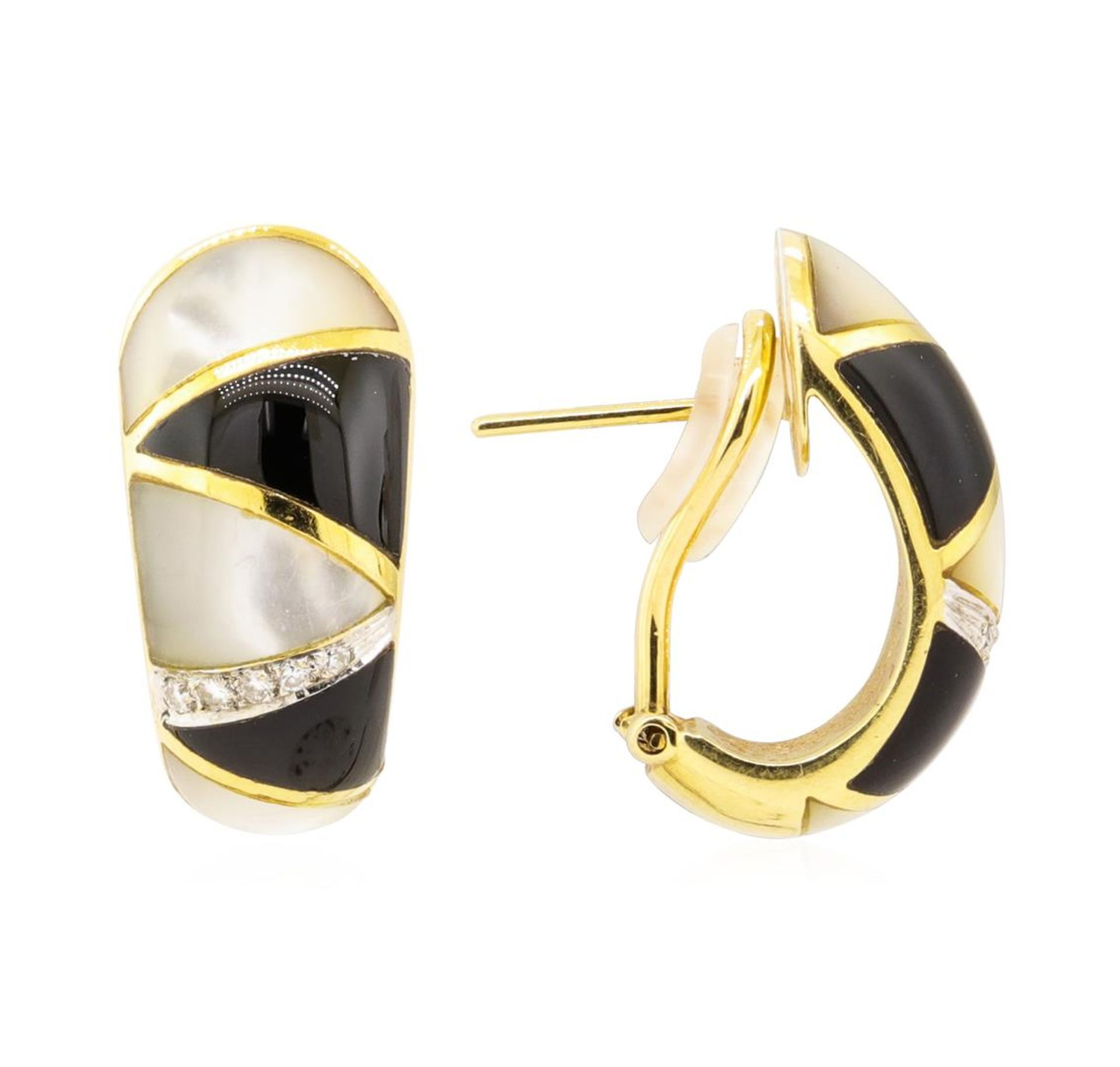 0.10 ctw Diamond, Onyx, and Mother of Pearl Earrings - 18KT Yellow Gold - Image 2 of 3