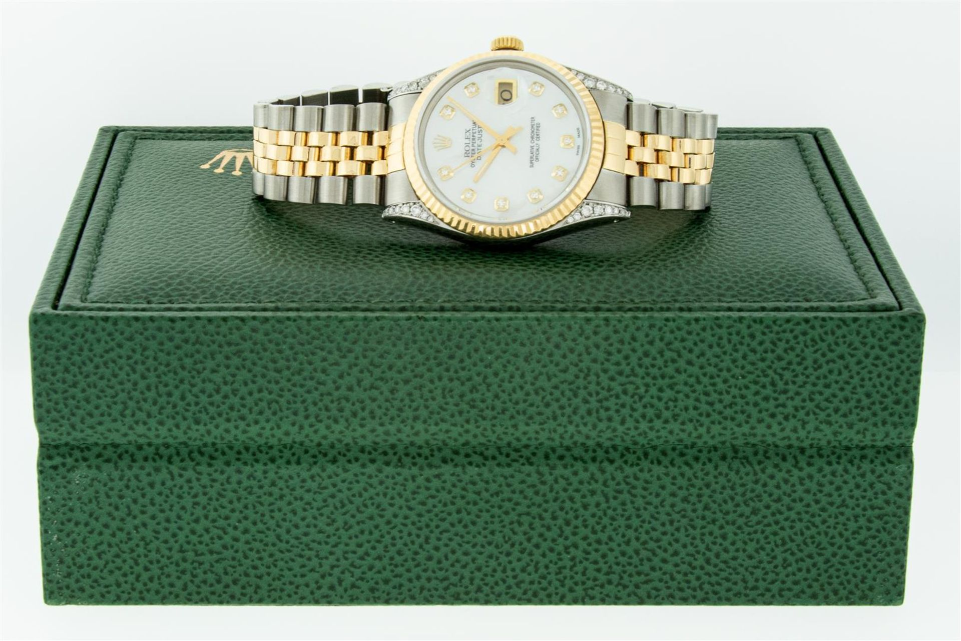 Rolex Mens 2 Tone MOP Diamond Lugs 36MM Datejust Wristwatch - Image 4 of 9