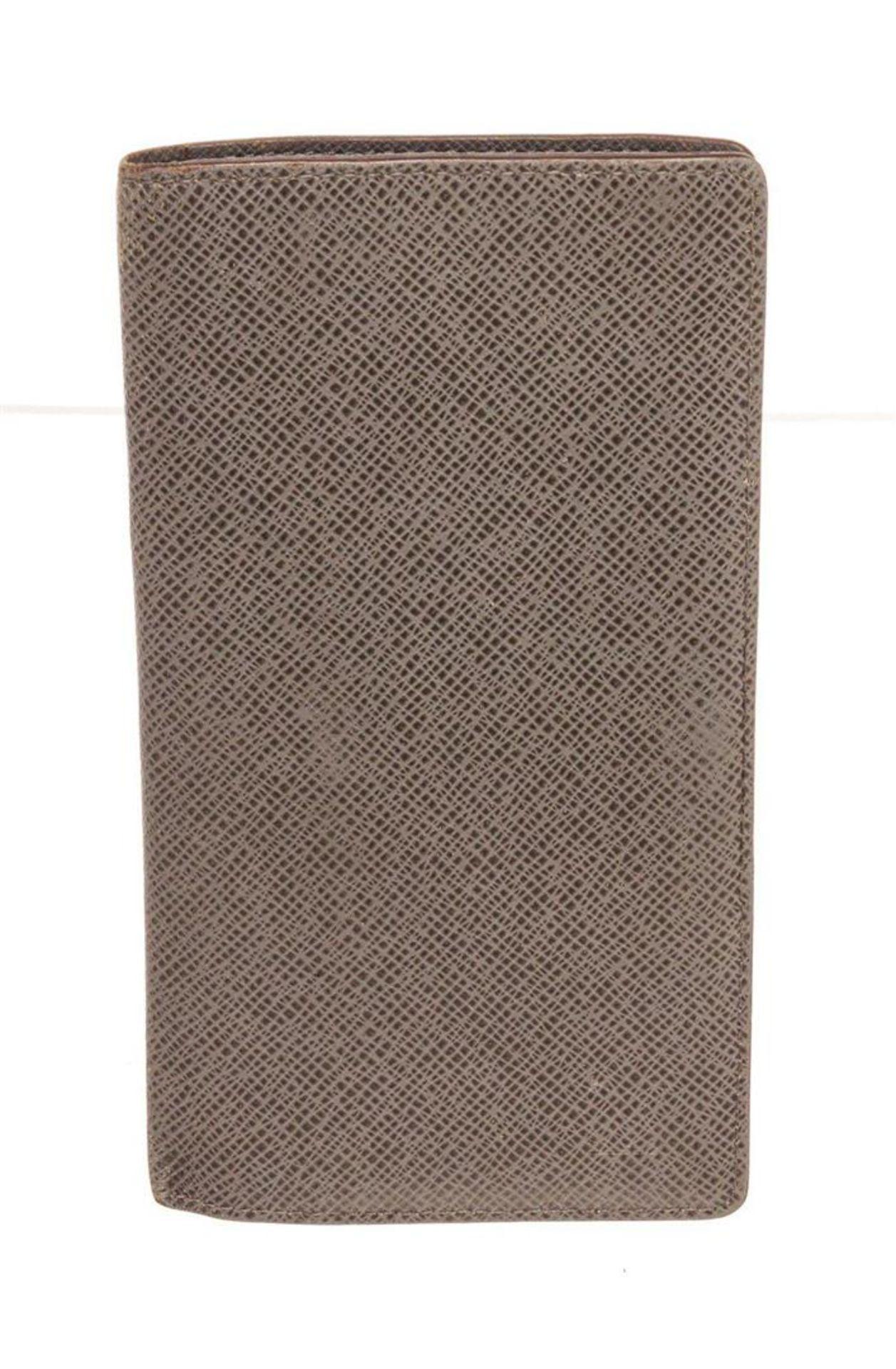 Louis Vuitton Brown Leather Canvas Long Card Wallet