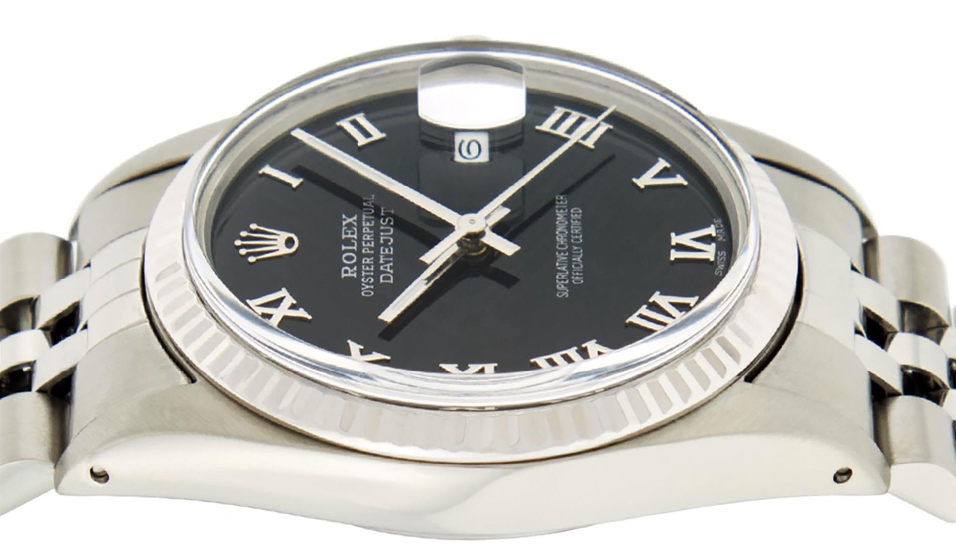 Rolex Mens Stainless Steel Black Roman Datejust 36MM Wriswatch Datejust - Image 8 of 8