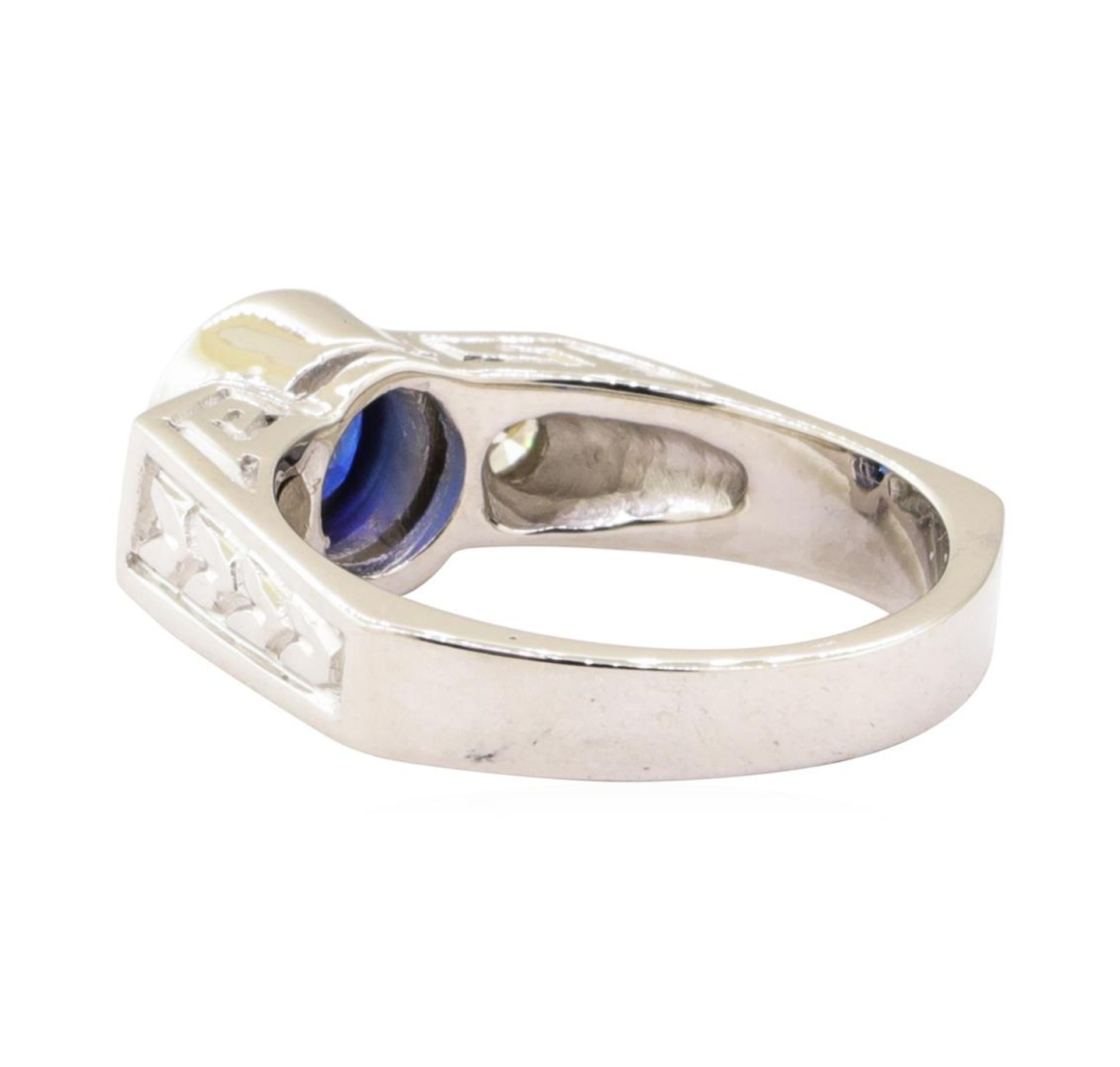 1.60 ctw Blue Sapphire And Diamond Ring - 14KT White Gold - Image 3 of 5