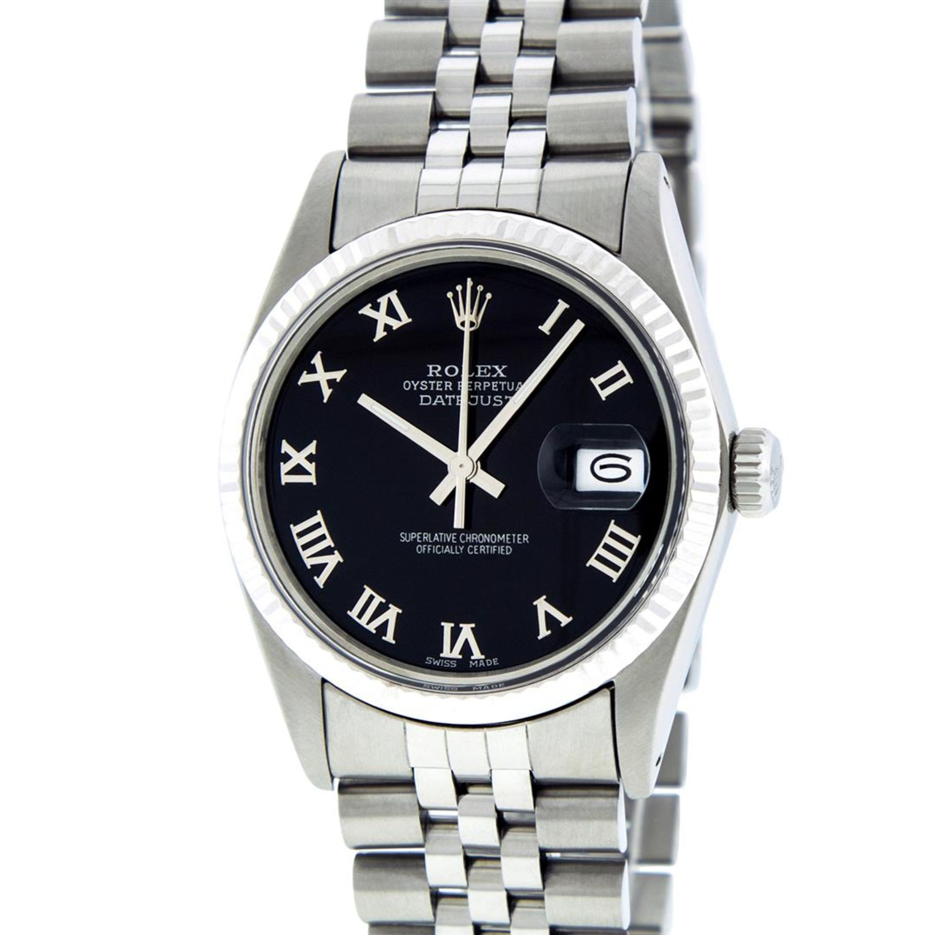 Rolex Mens Stainless Steel Black Roman Datejust 36MM Wriswatch Datejust - Image 2 of 8