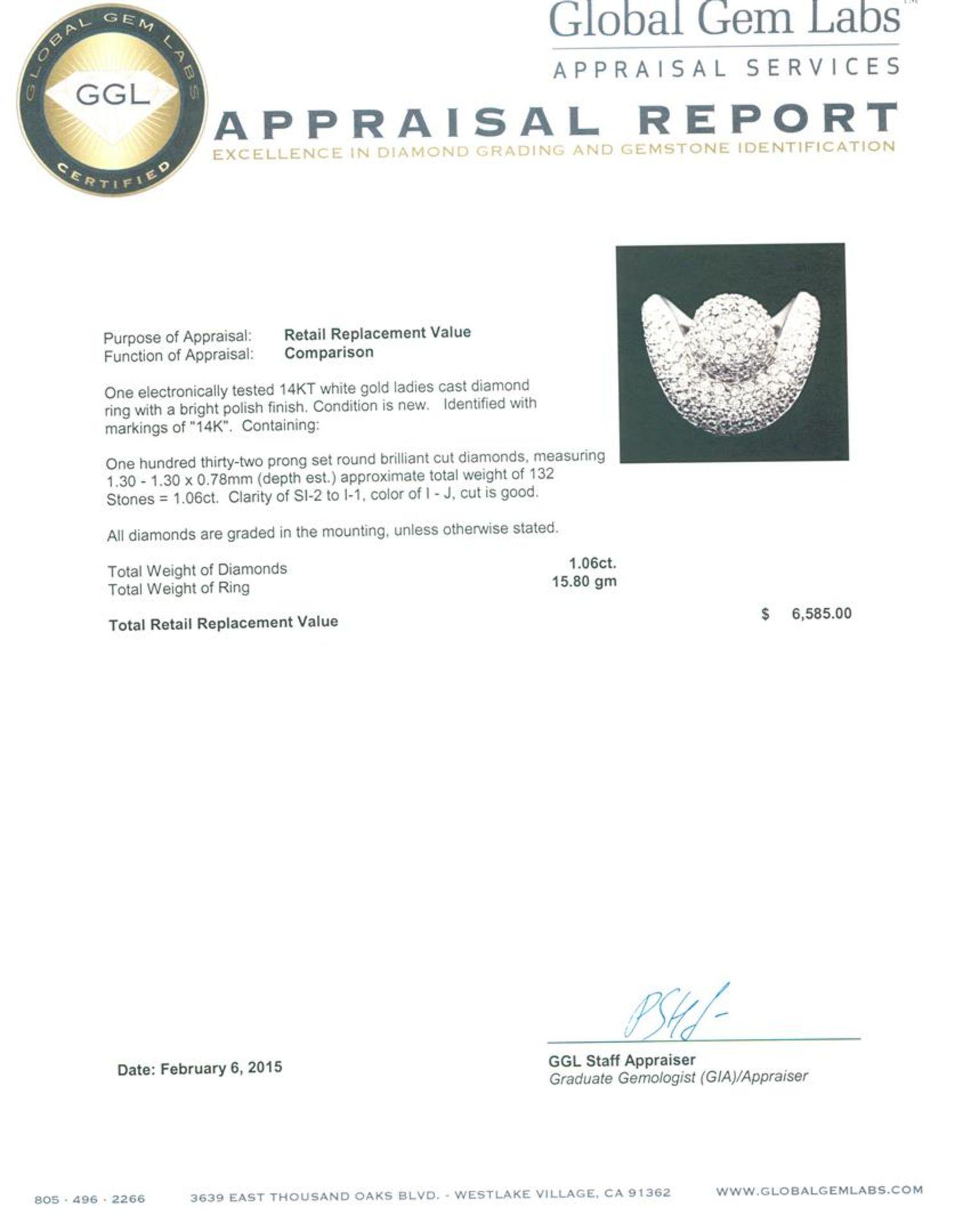 14KT White Gold 1.06 ctw Diamond Ring - Image 5 of 5