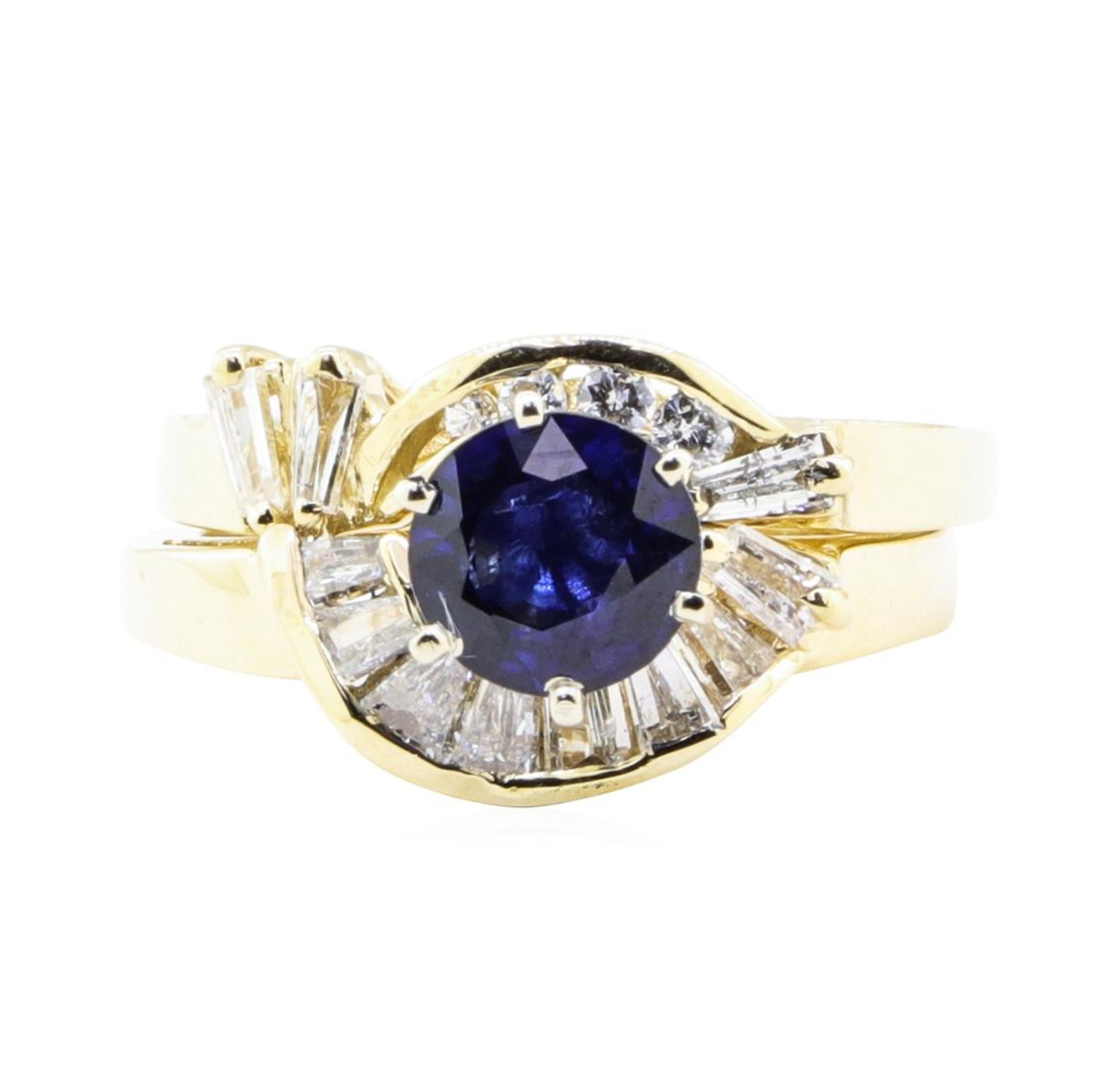 1.83 ctw Sapphire And Diamond Ring And Band - 14KT Yellow Gold - Image 2 of 4
