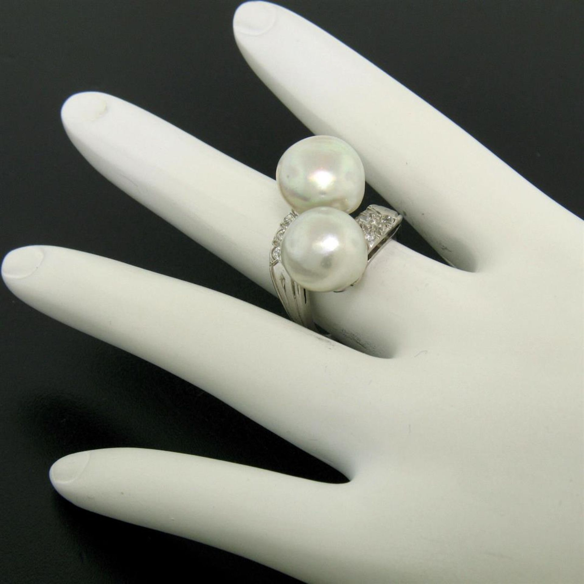GIA Certified Solid Platinum Pearl & Diamond Bypass Cocktail Ring - Image 3 of 9