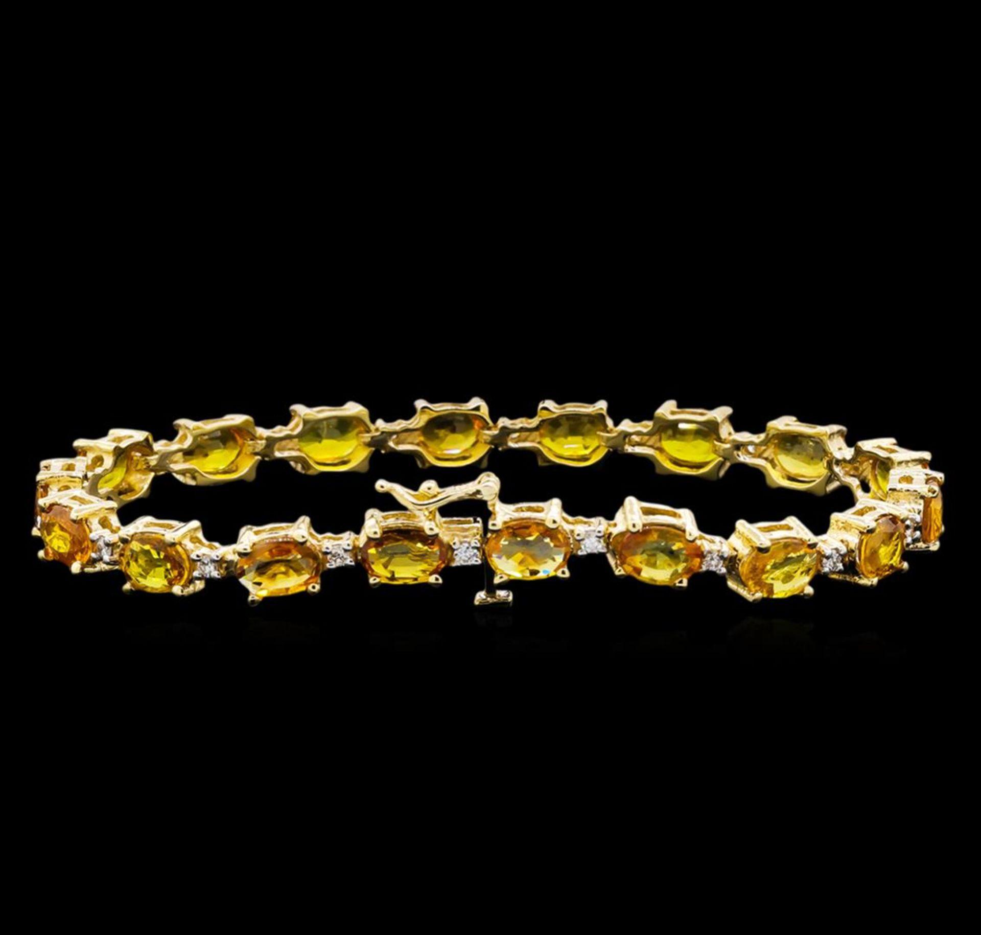 15.57 ctw Yellow Sapphire and Diamond Bracelet - 14KT Yellow Gold - Image 2 of 4