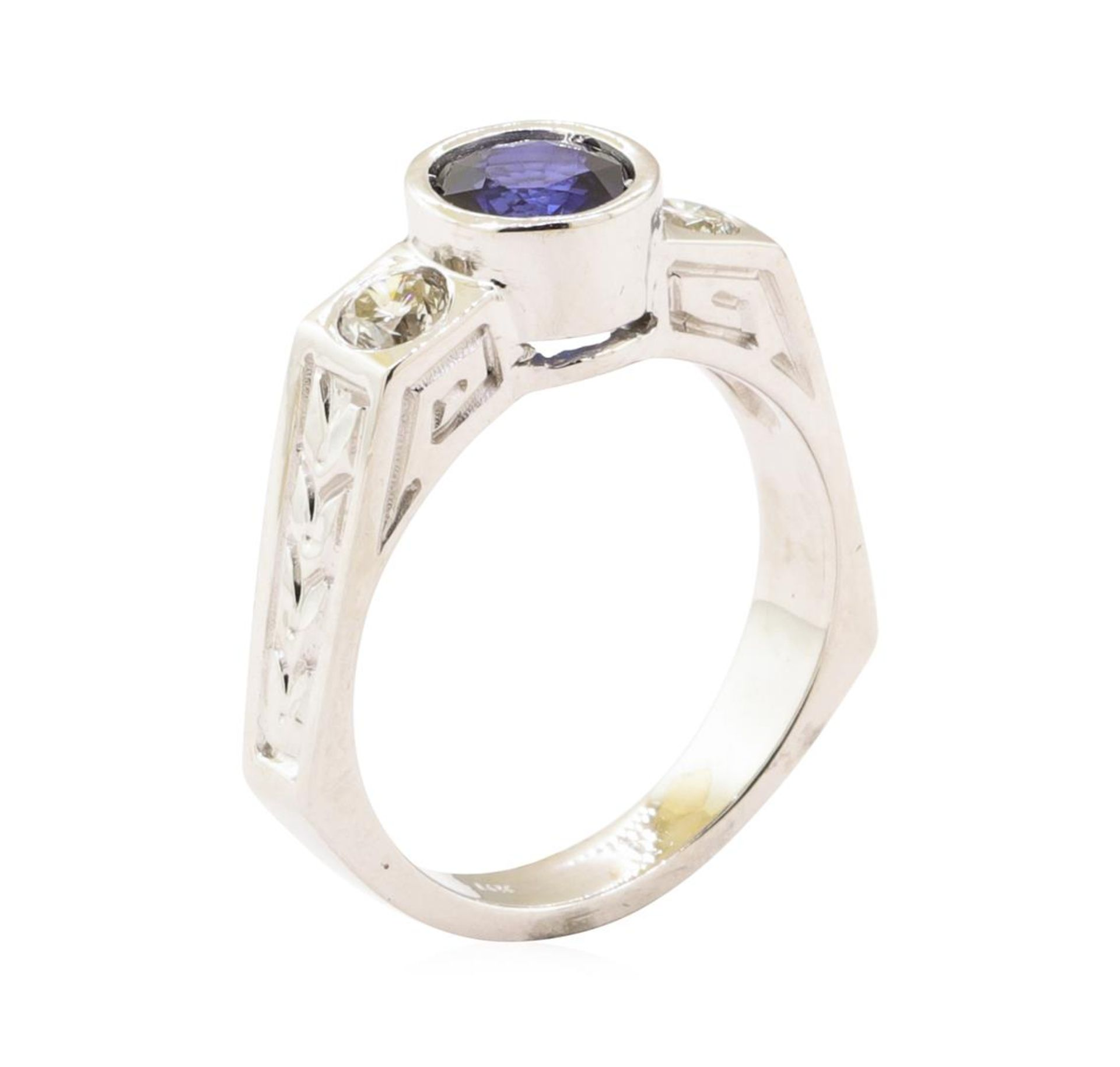 1.60 ctw Blue Sapphire And Diamond Ring - 14KT White Gold - Image 4 of 5