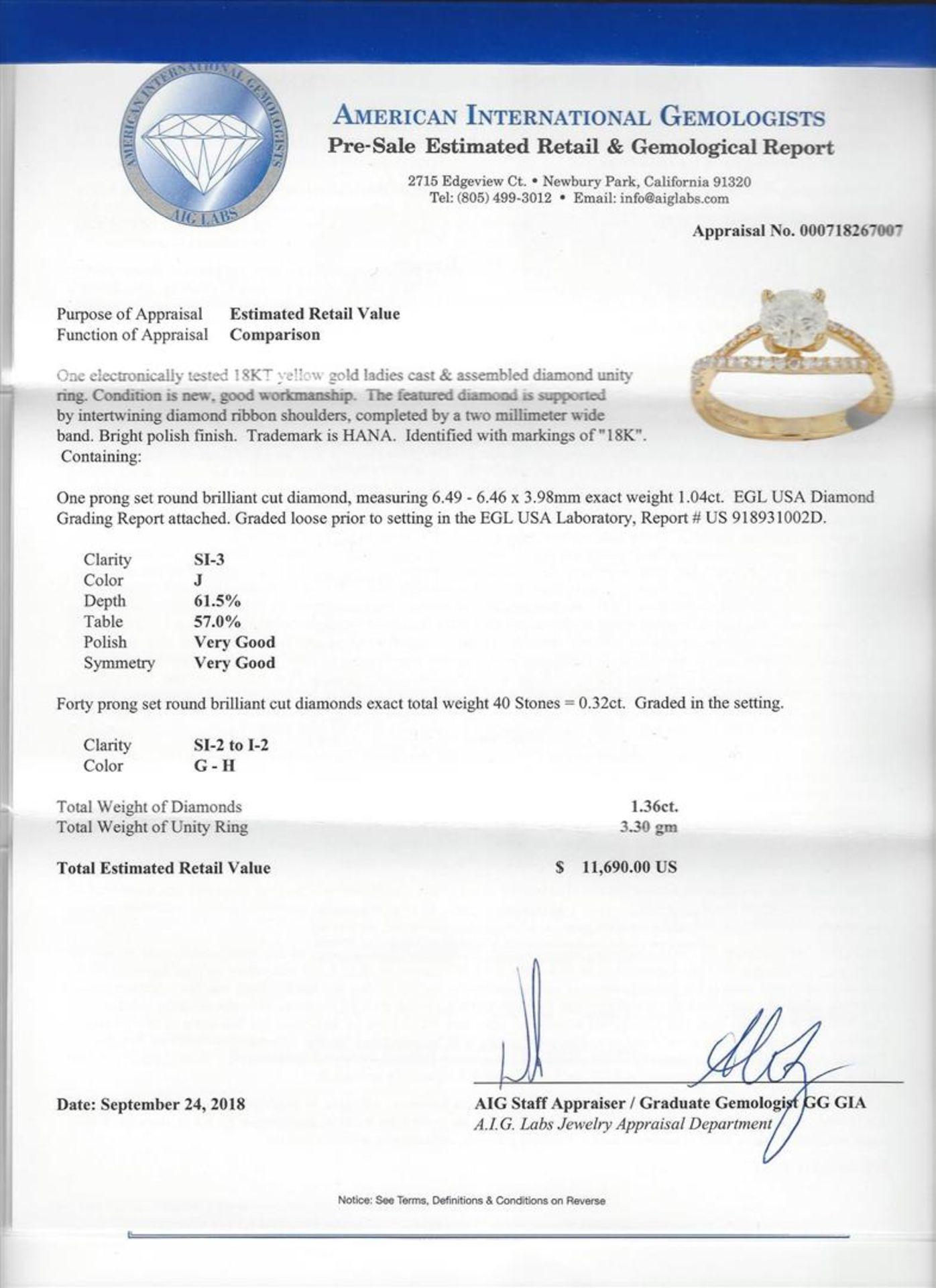 1.04ct Diamond Ring - 18KT Yellow Gold - Image 5 of 5