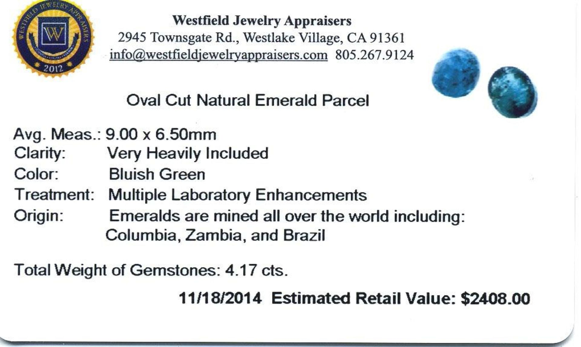 4.17 cts. Oval Cut Natural Emerald Parcel - Image 2 of 2