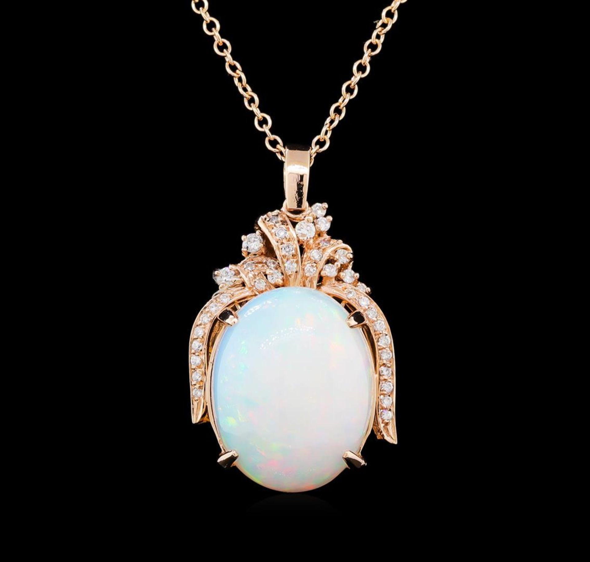 23.65 ctw Opal and Diamond Pendant With Chain - 14KT Rose Gold - Image 2 of 4
