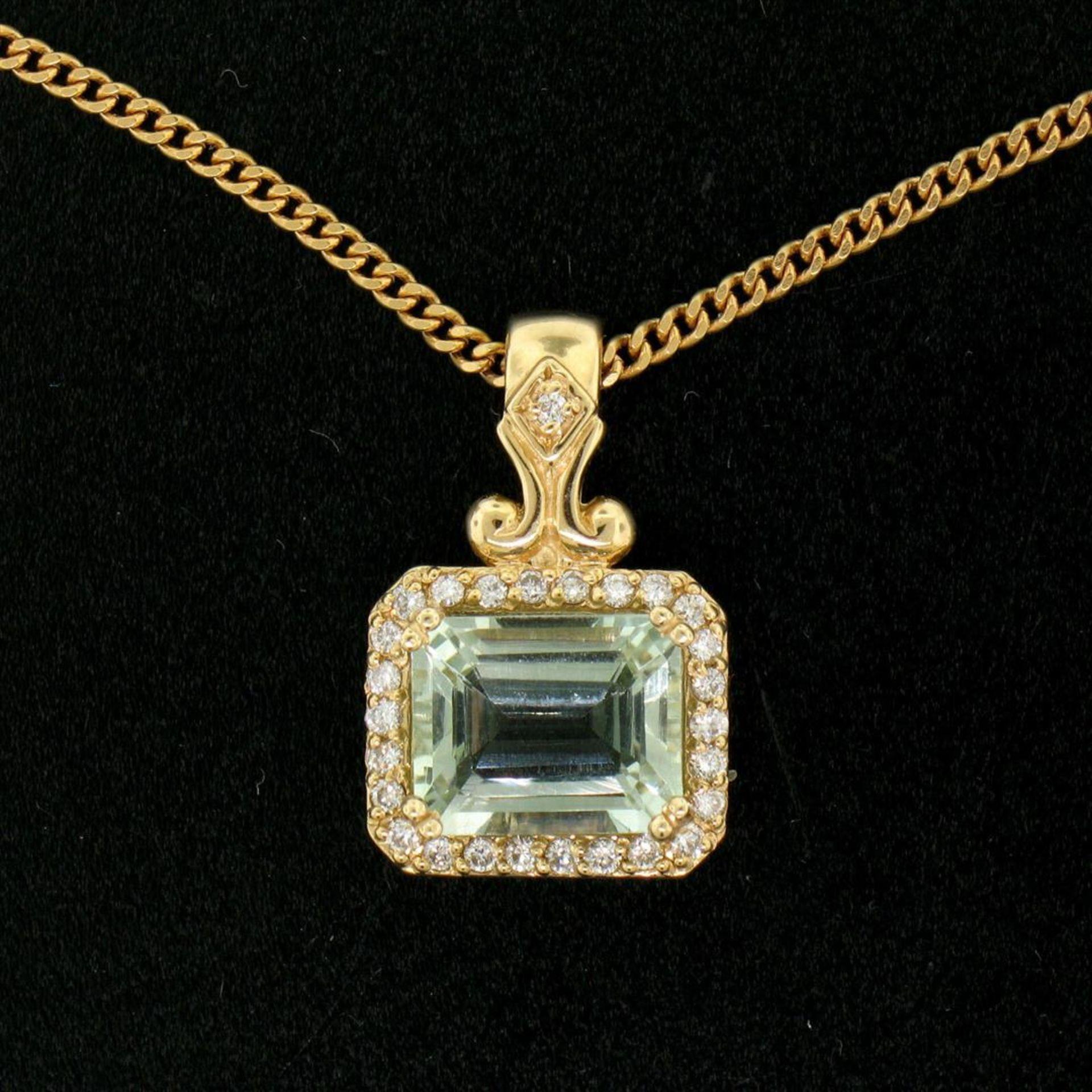 "14K Yellow Gold 3.77ctw VS Diamond Green Amethyst Pendant w/ 20"" Curb Chain - Image 2 of 7"