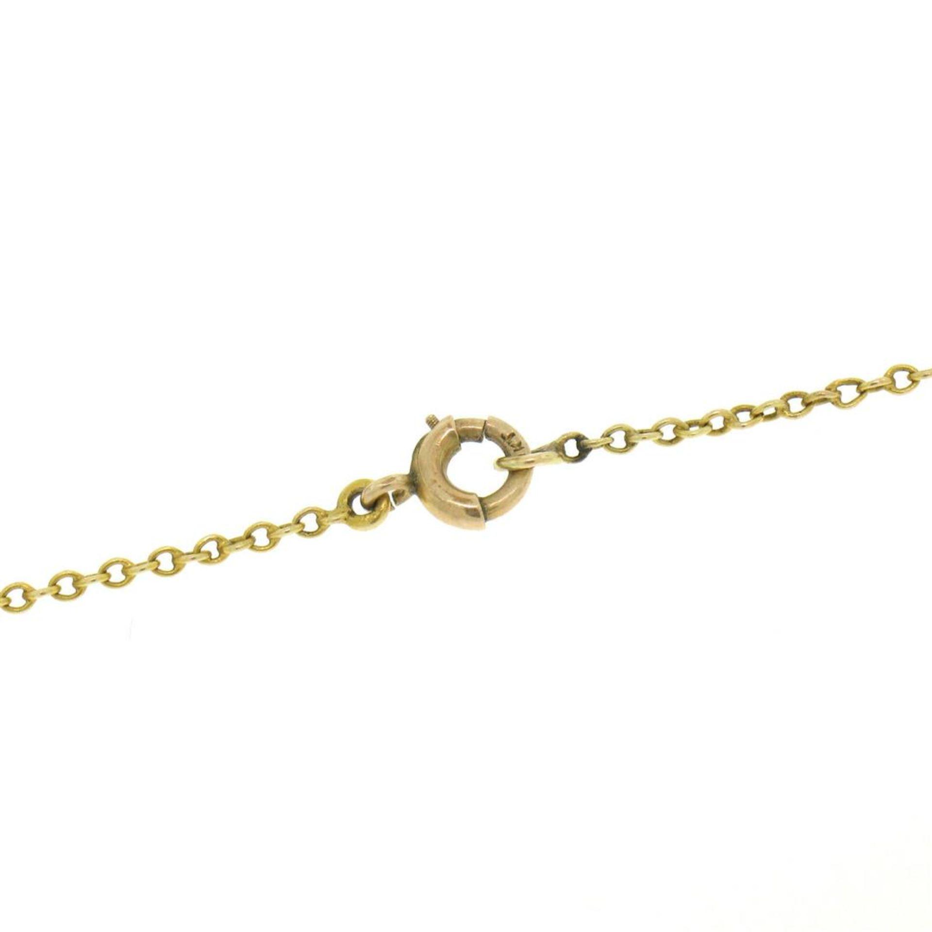 14k Gold Cushion Mine Cut Diamond Lavalier Pendant - Image 6 of 7
