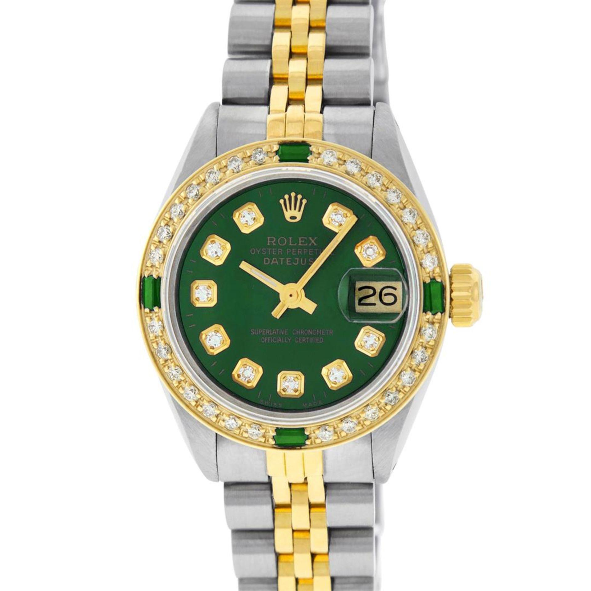 Rolex Ladies 2 Tone Green Diamond & Emerald Datejust Wristwatch - Image 3 of 9