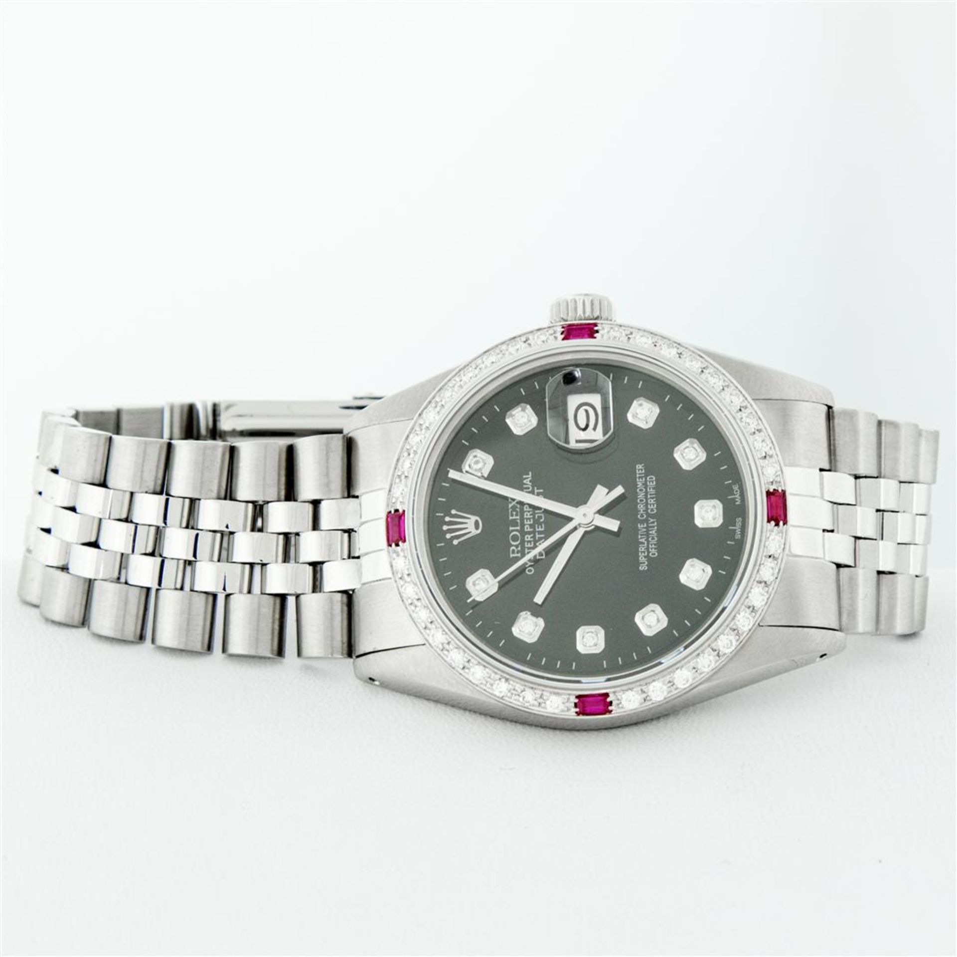 Rolex Mens Stainless Steel Black Diamond & Ruby 36MM Datejust Wristwatch Oyster - Image 4 of 9