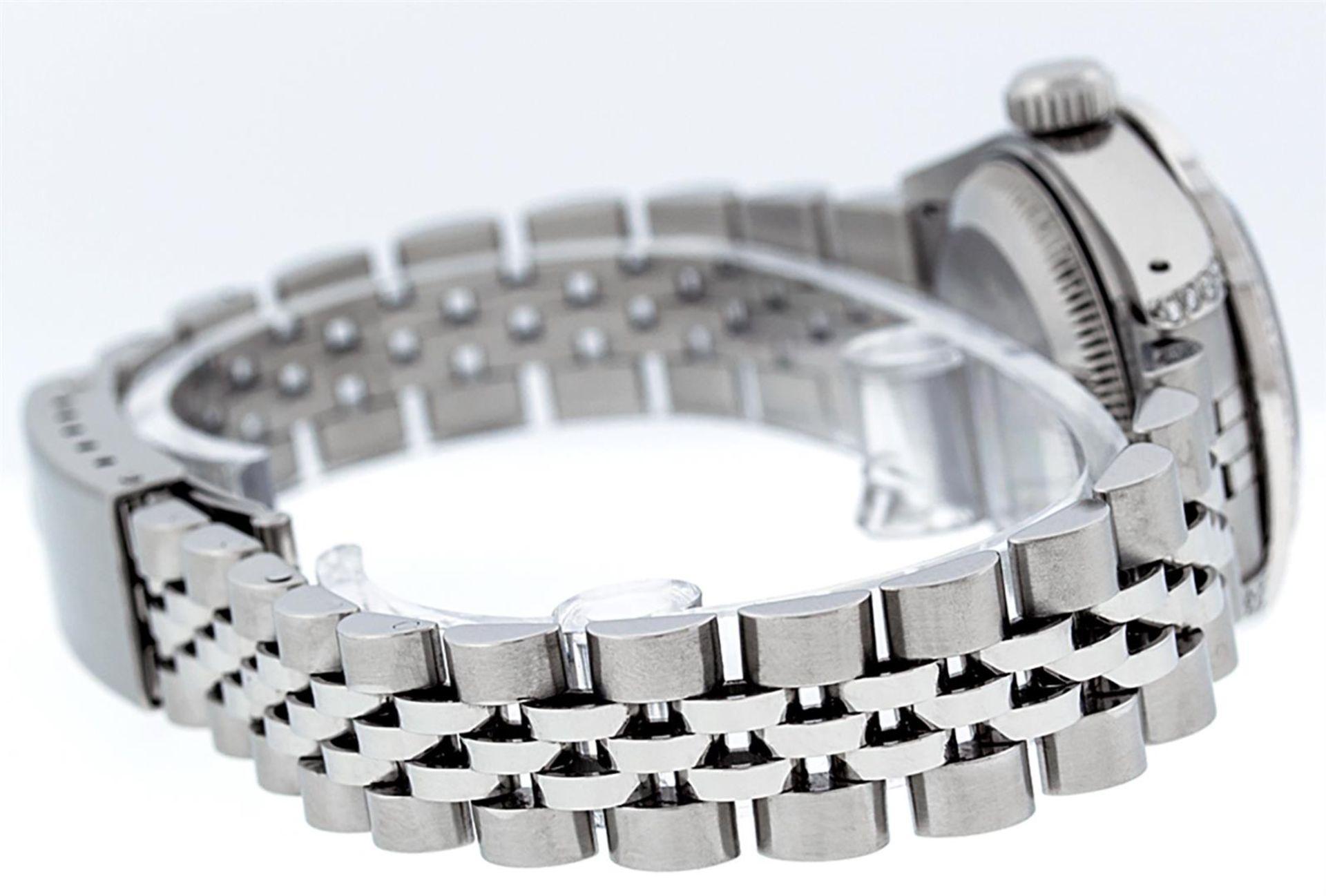 Rolex Ladies Stainless Steel 26MM Orange String Diamond Lugs Datejust Wristwatch - Image 3 of 9