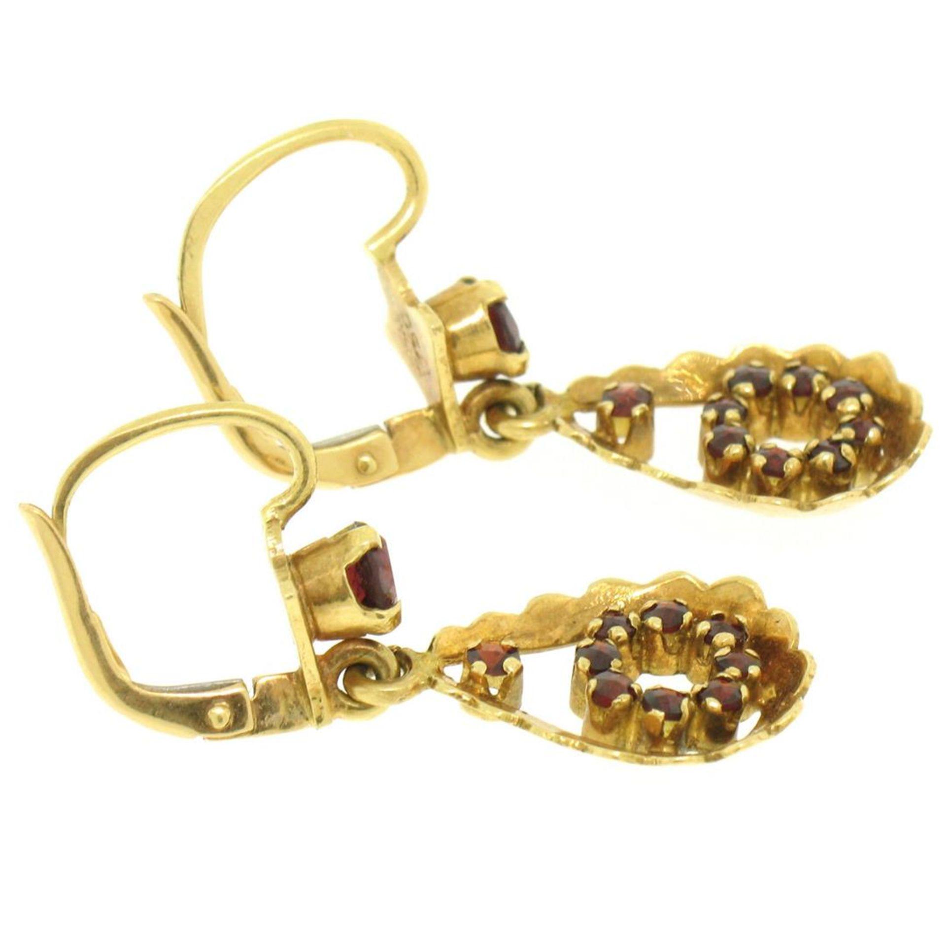 Vintage 18K Yellow Gold 1.0 ctw Pear Shape Garnet Dangle Drop Lever Back Earring - Image 8 of 8