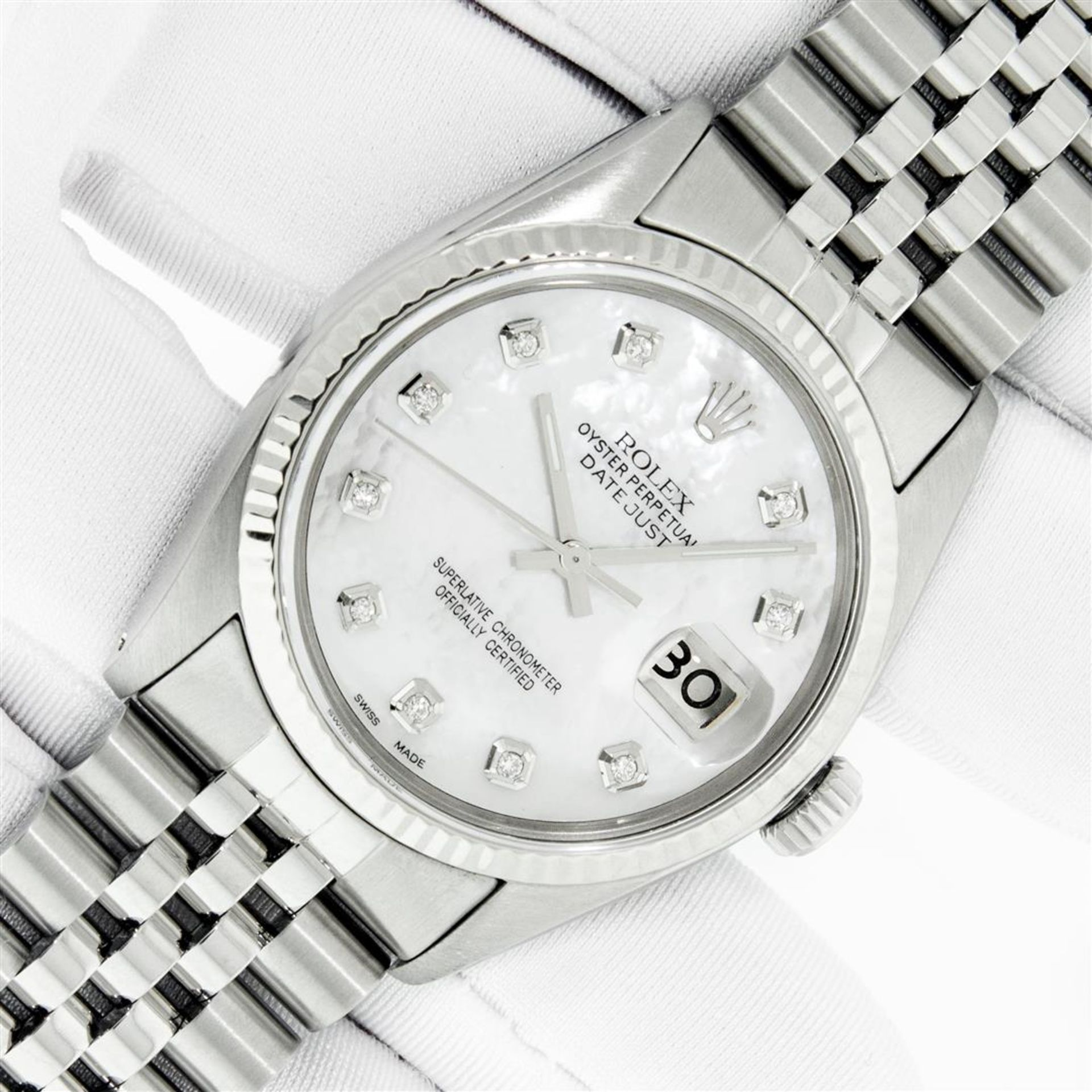 Rolex Mens Stainless Mother Of Pearl Diamond 36MM Datejust Wristwatch With Rolex - Image 2 of 9