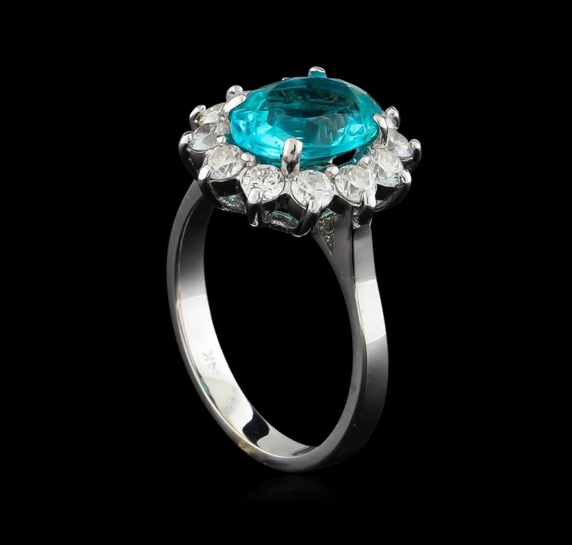 2.78 ctw Apatite and Diamond Ring - 14KT White Gold - Image 3 of 4