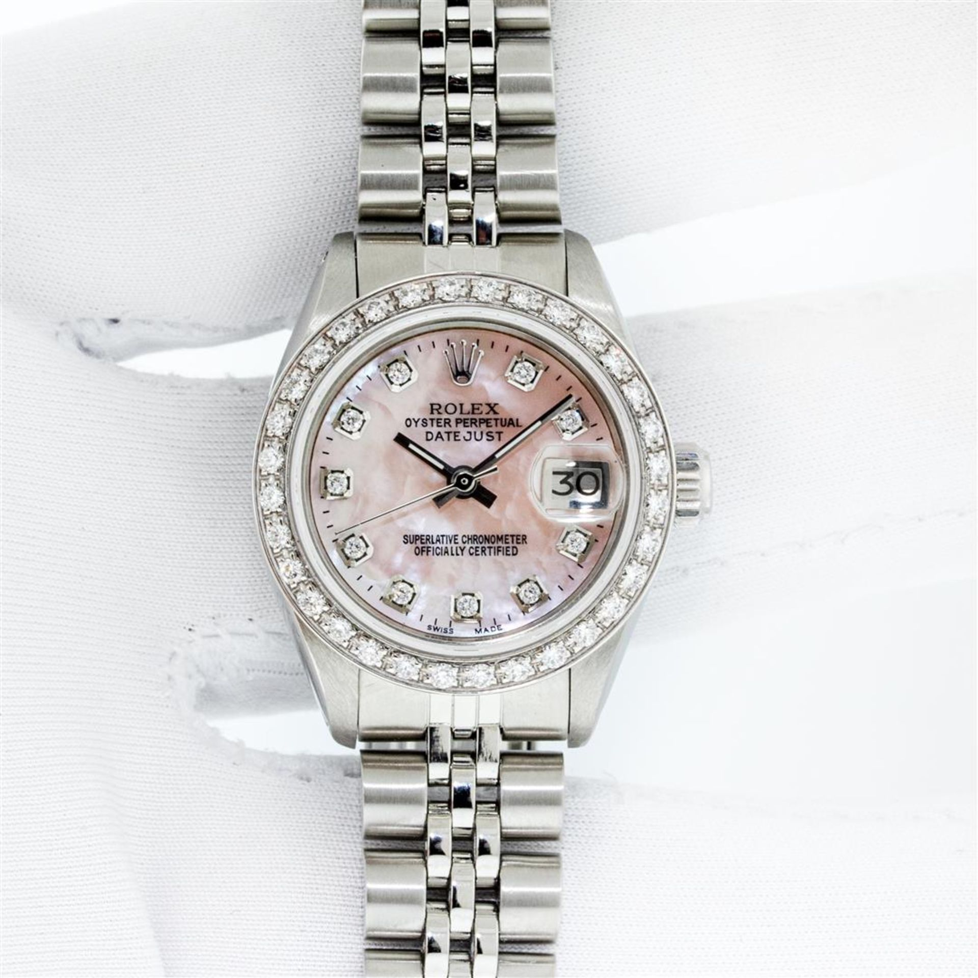 Rolex Ladies Stainless Steel Pink MOP Diamond 26MM Oyster Perpetaul Datejust Wit - Image 3 of 9