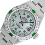 Rolex Ladies Stainless Steel MOP Emerald & Diamond Oyster Perpetaul Datejust Wri