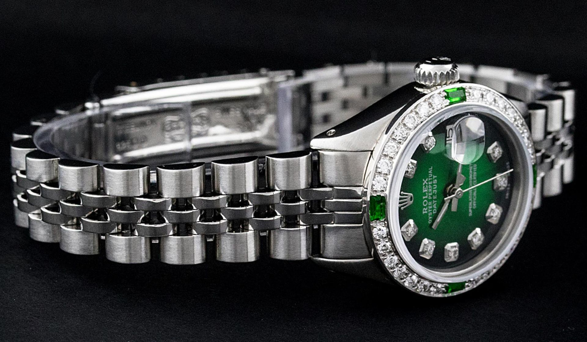 Rolex Ladies Stainless Steel 26MM Green Vignette Diamond Oyster Perpetual Dateju - Image 4 of 9