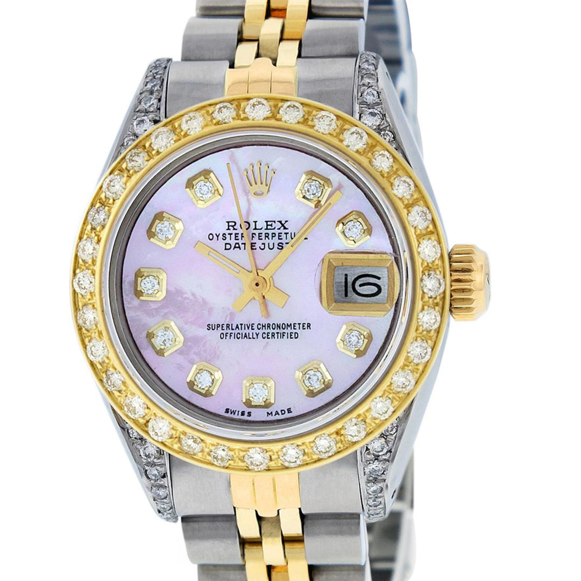 Rolex Ladies 26 Yellow Gold And Stainless Steel Pink MOP Lugs Oyster Perpetual D