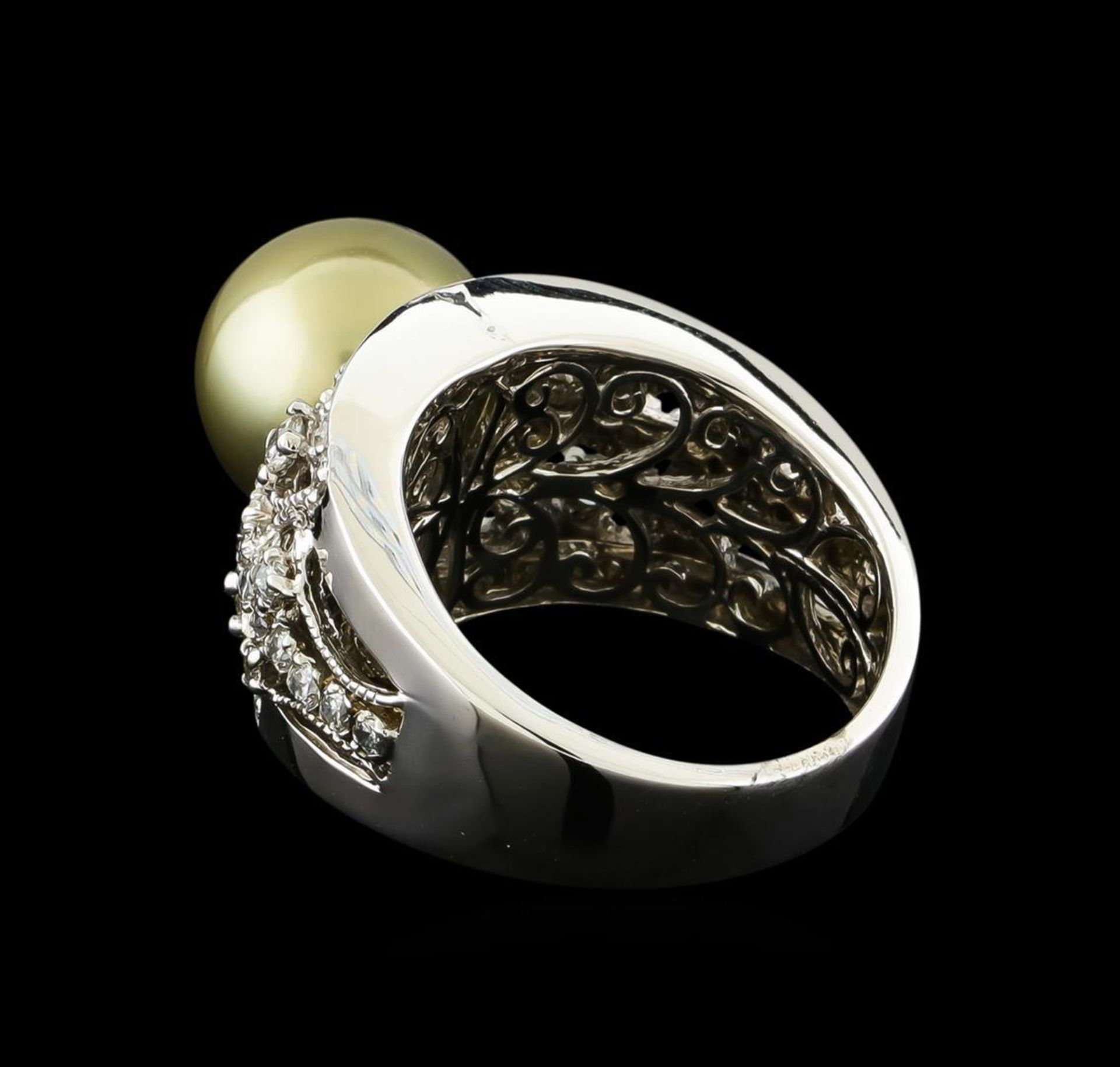 Tahitian Pearl and Diamond Ring - 14KT White Gold - Image 3 of 5