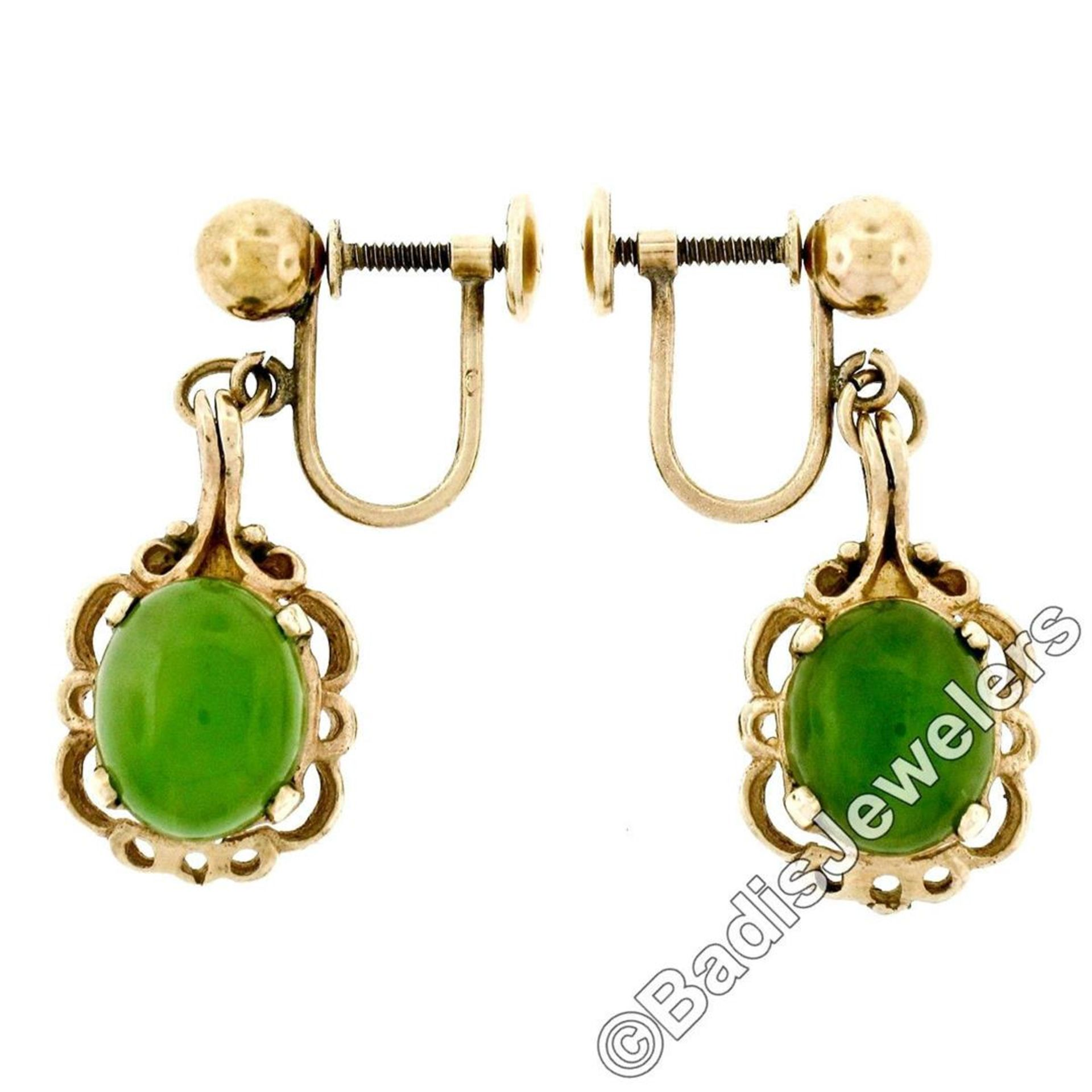 Vintage 14kt Yellow Gold Oval Green Jade Non Pierced Earrings - Image 5 of 6