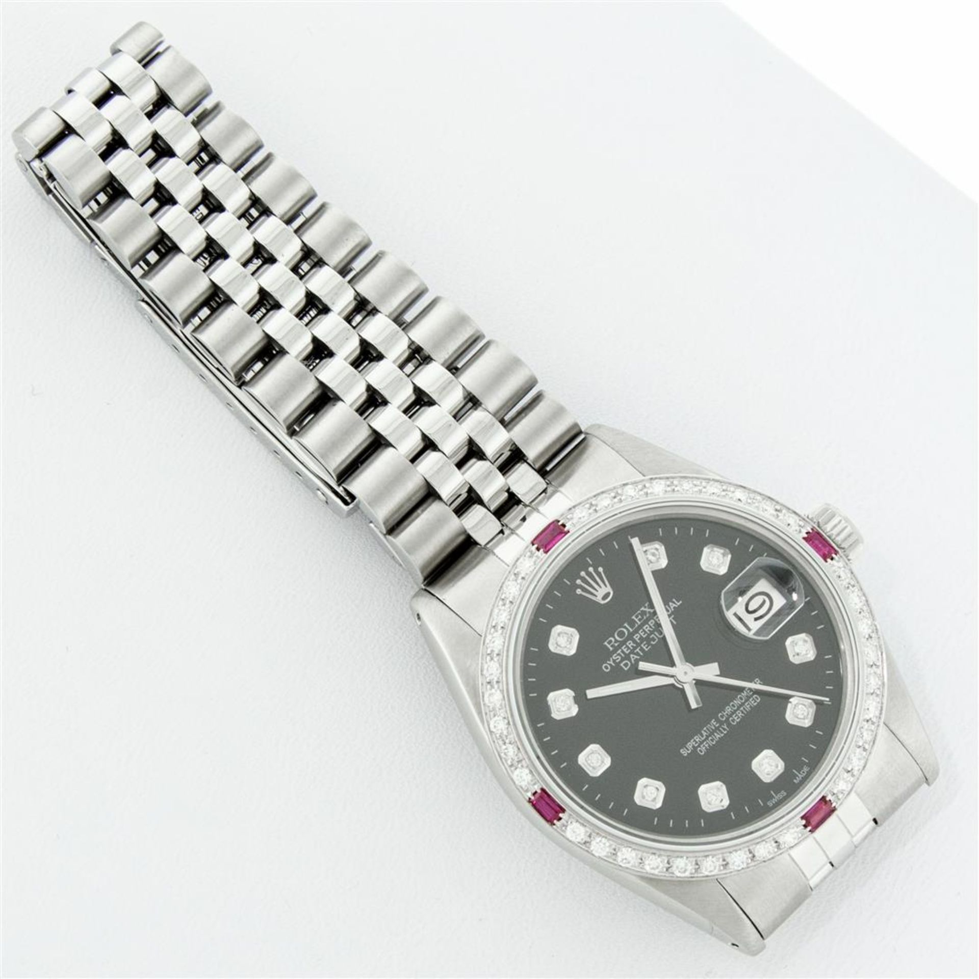 Rolex Mens Stainless Steel Black Diamond & Ruby 36MM Datejust Wristwatch Oyster - Image 7 of 9
