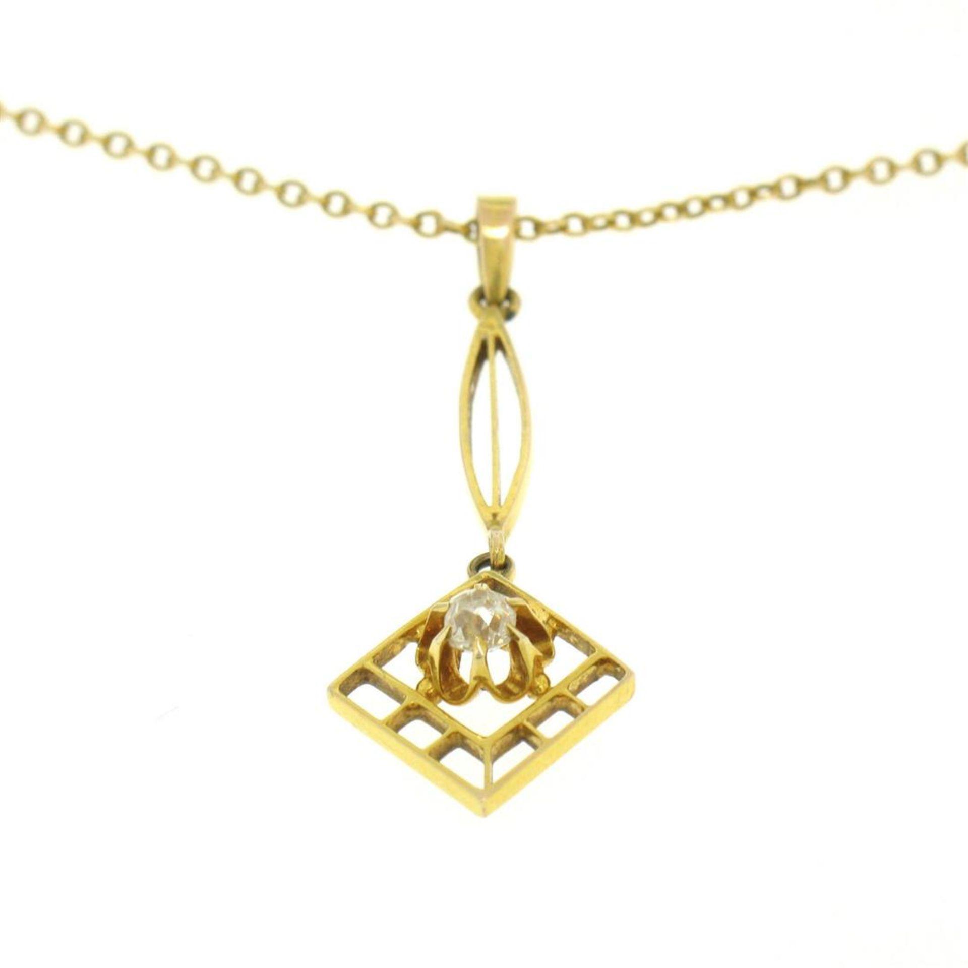 14k Gold Cushion Mine Cut Diamond Lavalier Pendant - Image 4 of 7