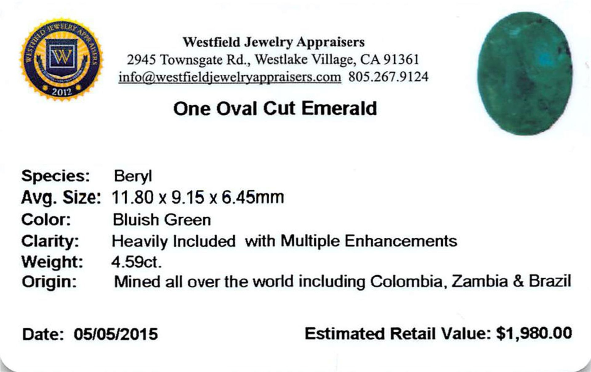 4.59 ctw Oval Emerald Parcel - Image 2 of 2