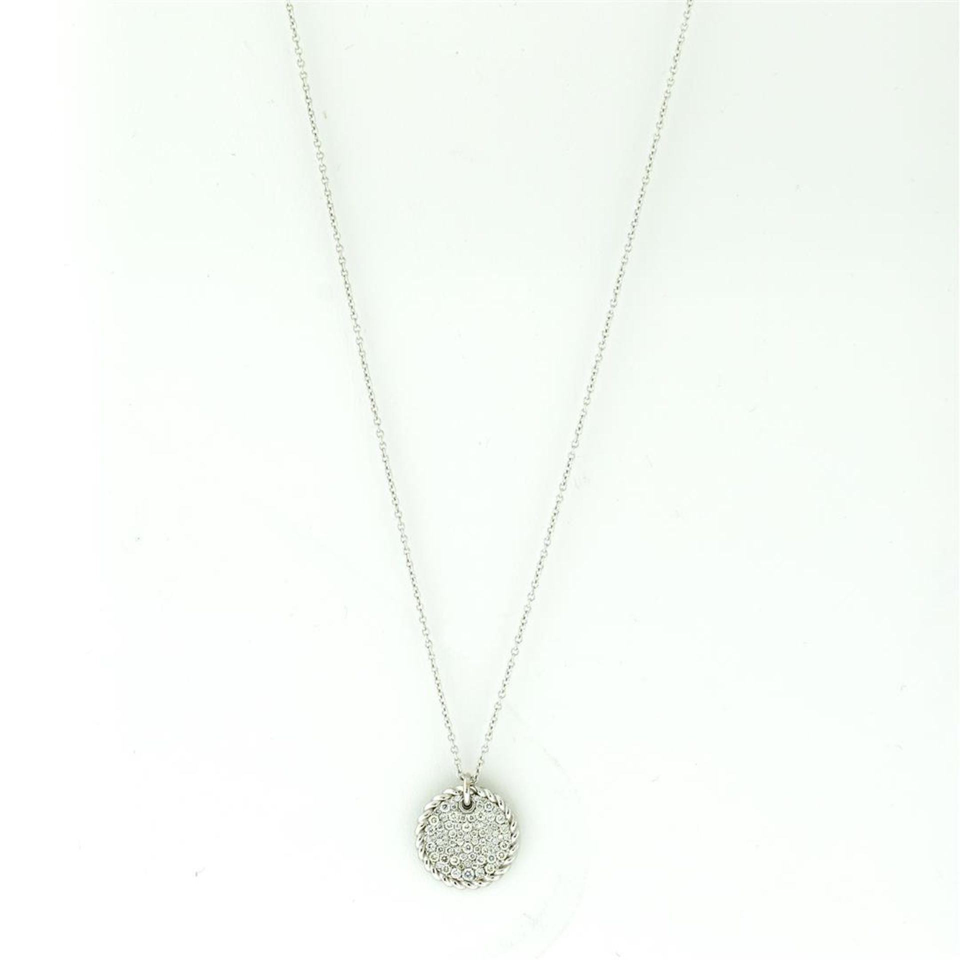 New 18k White Gold Diamond Cable Pendant with with 18K White Gold Chain - Image 4 of 7