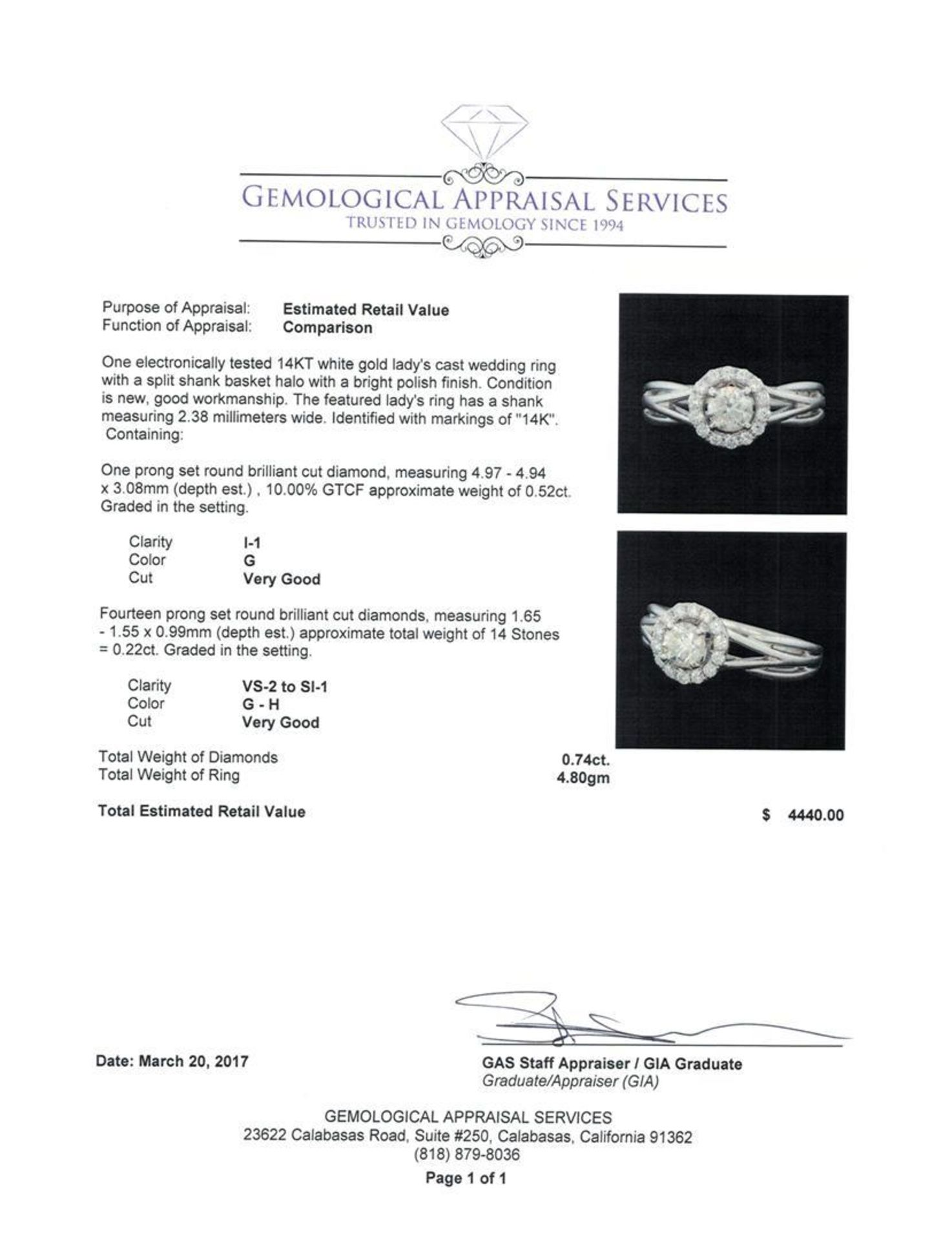0.74 ctw Diamond Ring - 14KT White Gold - Image 5 of 5