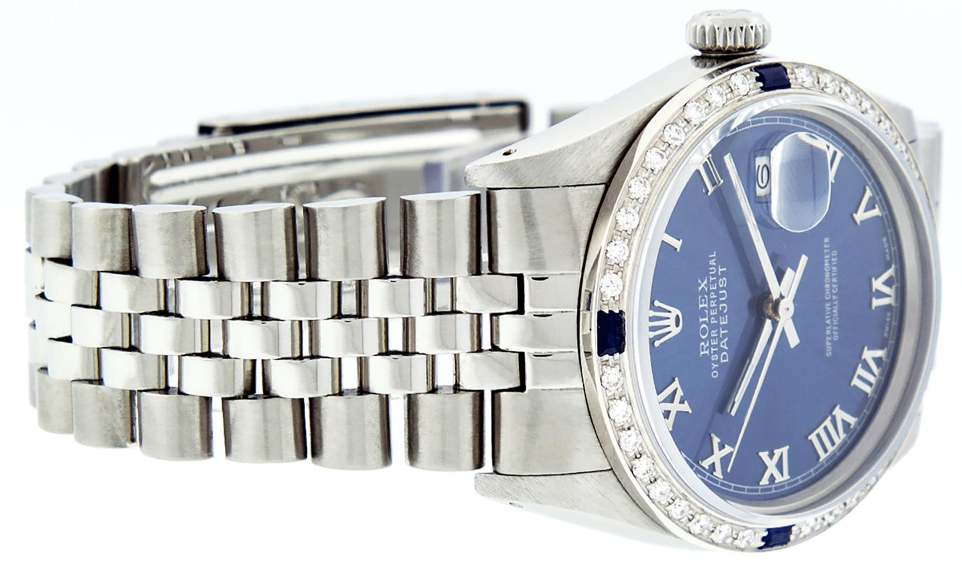 Rolex Mens Stainless Steel Blue Roman Diamond & Sapphire 36MM Oyster Perpetual D - Image 7 of 9