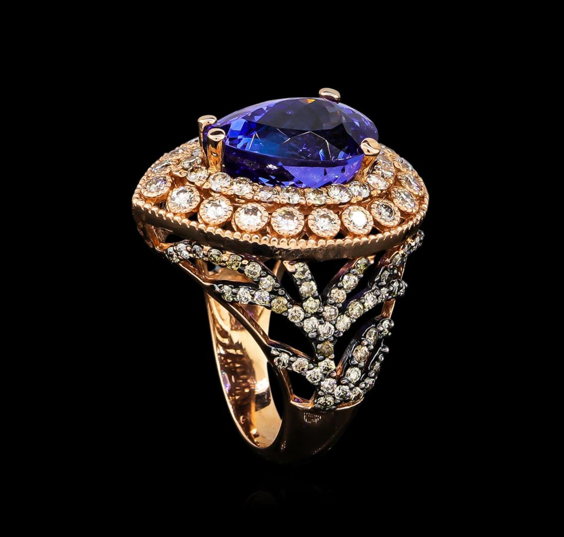 7.31 ctw Tanzanite and Diamond Ring - 14KT Rose Gold - Image 4 of 5