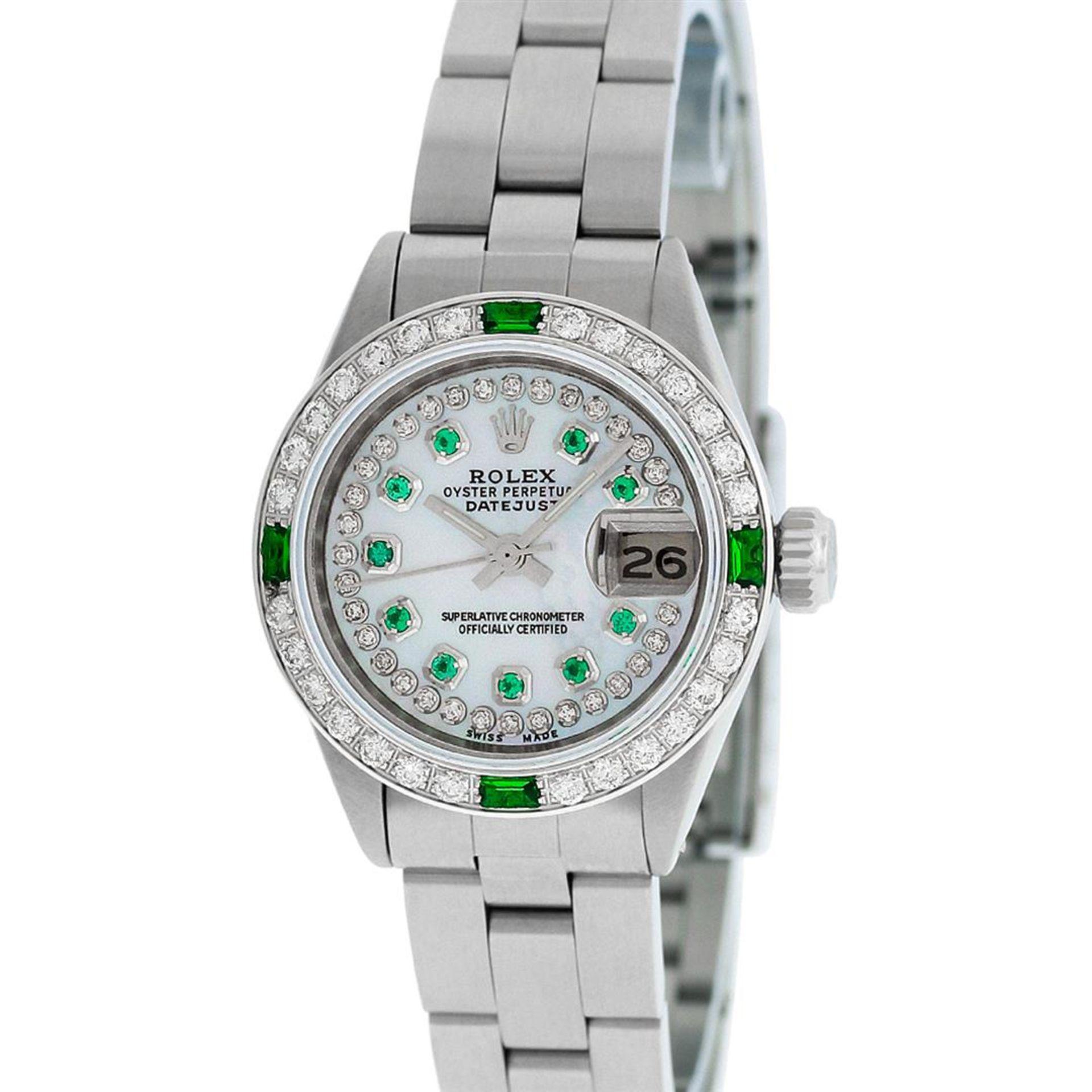 Rolex Ladies Stainless Steel MOP Emerald & Diamond Oyster Perpetaul Datejust Wri - Image 3 of 9