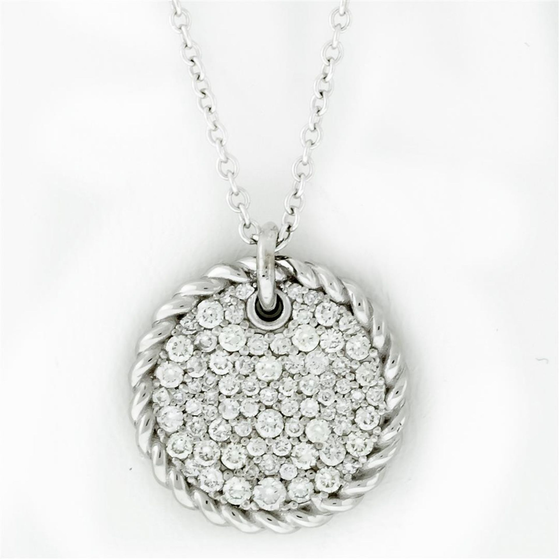 New 18k White Gold Diamond Cable Pendant with with 18K White Gold Chain - Image 2 of 7