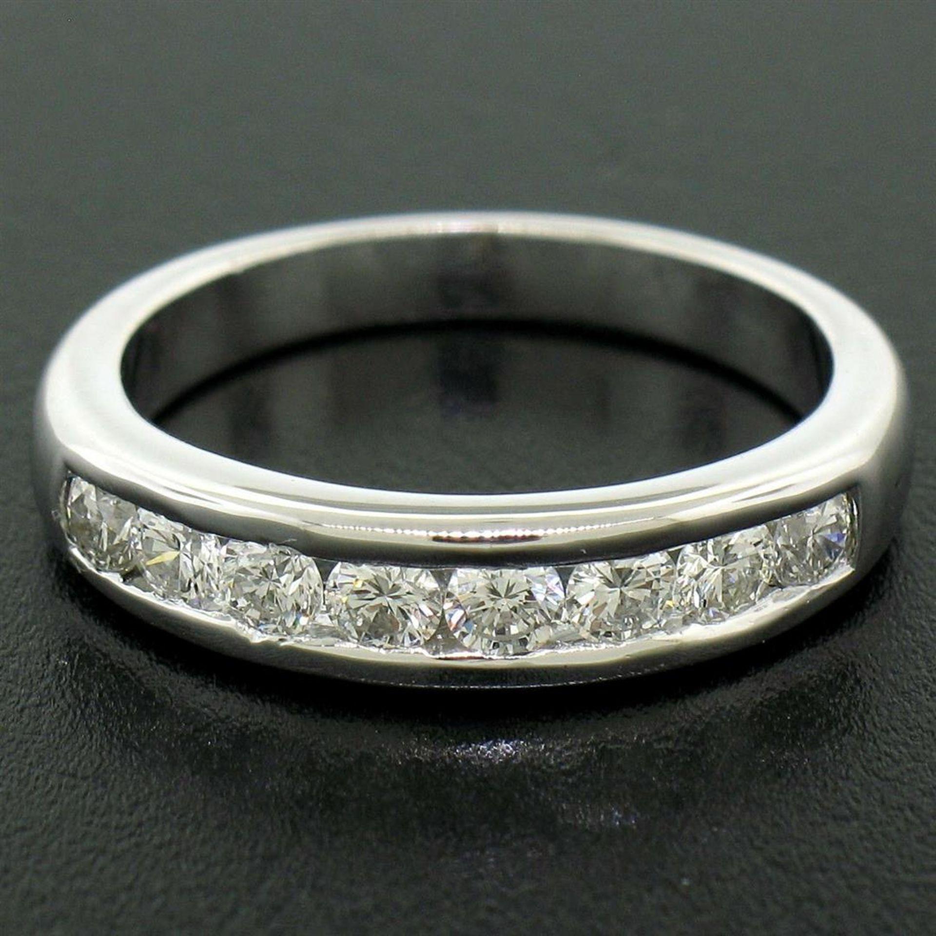 Classic Platinum .80ctw Channel Set Round Brilliant VS Diamond Wedding Band Ring - Image 3 of 8