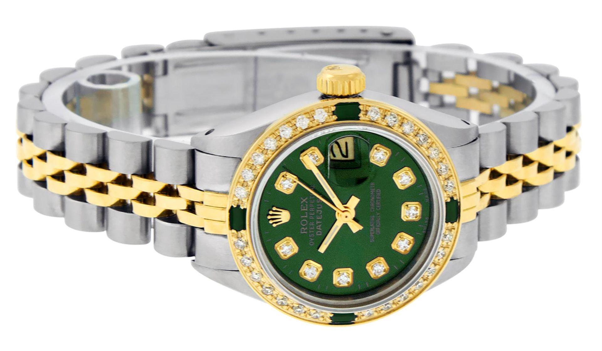 Rolex Ladies 2 Tone Green Diamond & Emerald Datejust Wristwatch - Image 4 of 9