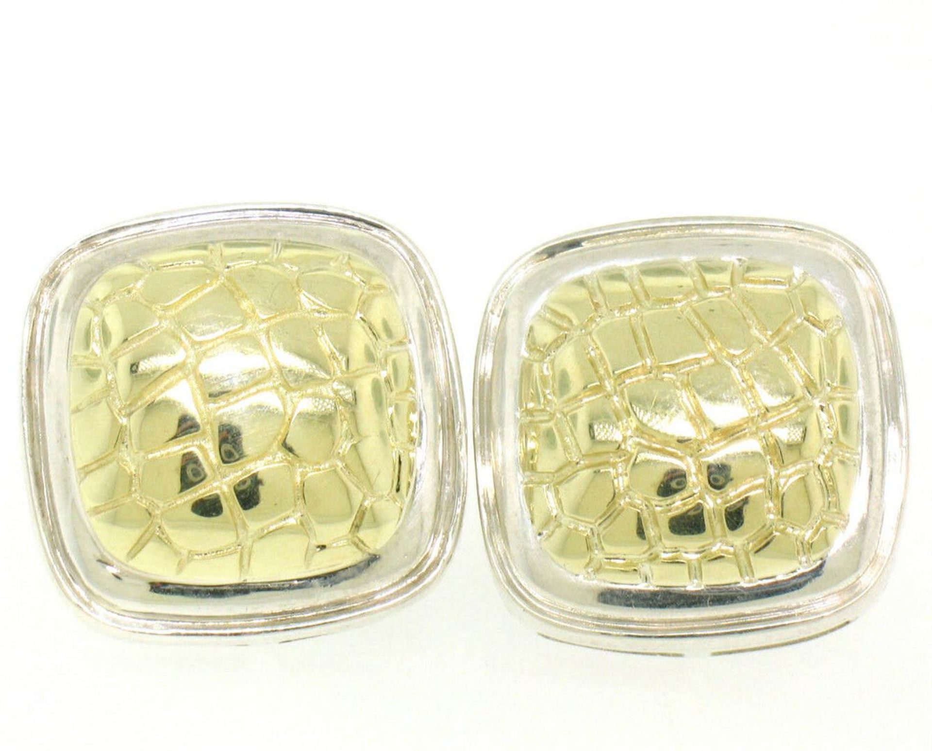 Krypell Sterling Silver & 14k Yellow Gold Square Cushion Python Pattern Earrings