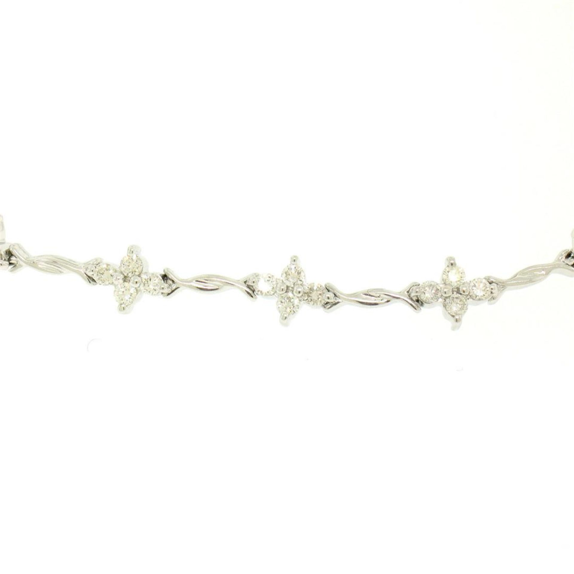18K White Gold 1.65ctw Diamond Flower Cluster Twisted Wire Link Tennis Bracelet - Image 2 of 6