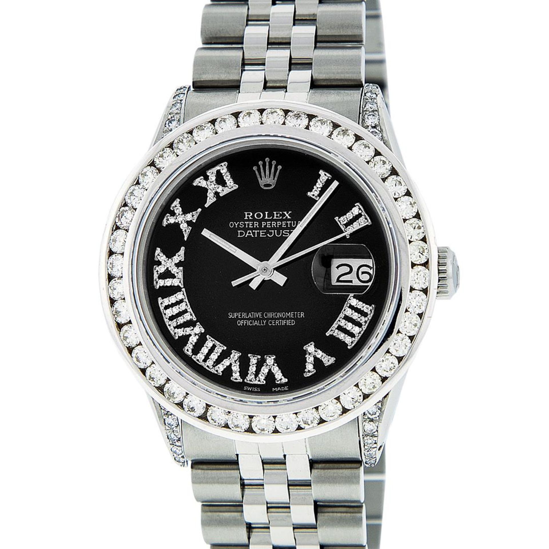 Rolex Mens Stainless Steel Black Roman Diamond Datejust Wristwatch With Wooden W - Image 2 of 9