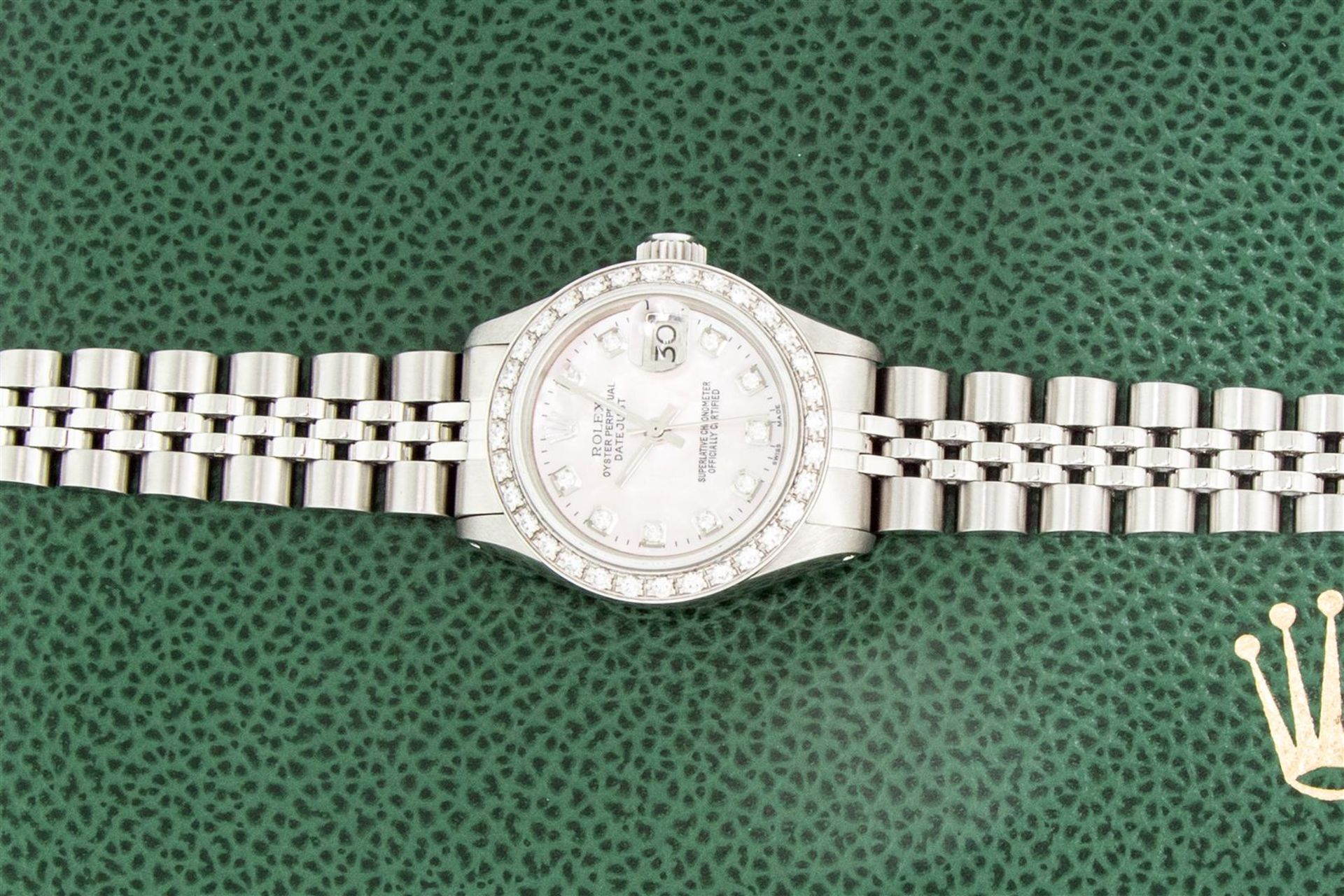 Rolex Ladies Stainless Steel Pink MOP Diamond 26MM Oyster Perpetaul Datejust Wit - Image 4 of 9