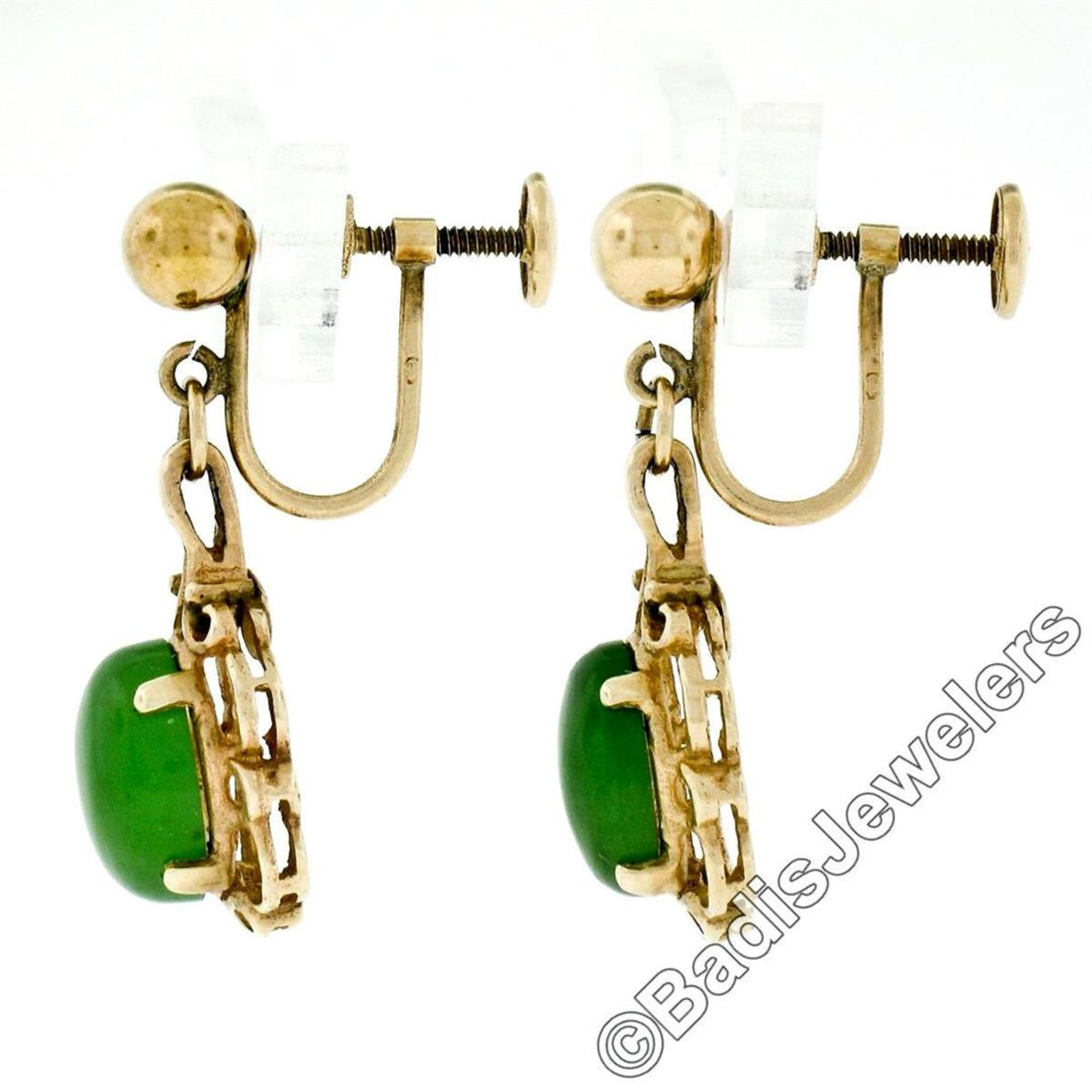 Vintage 14kt Yellow Gold Oval Green Jade Non Pierced Earrings - Image 3 of 6