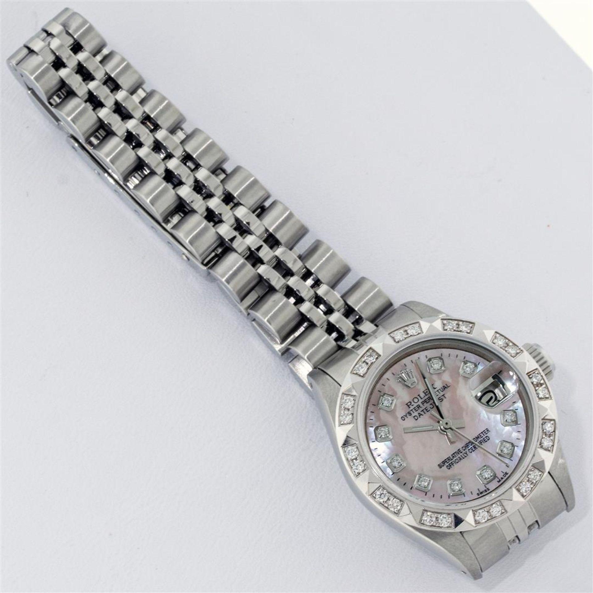 Rolex Ladies Stainless Steel Pink MOP Pyramid Diamond Datejust Wristwatch 26MM - Image 4 of 9