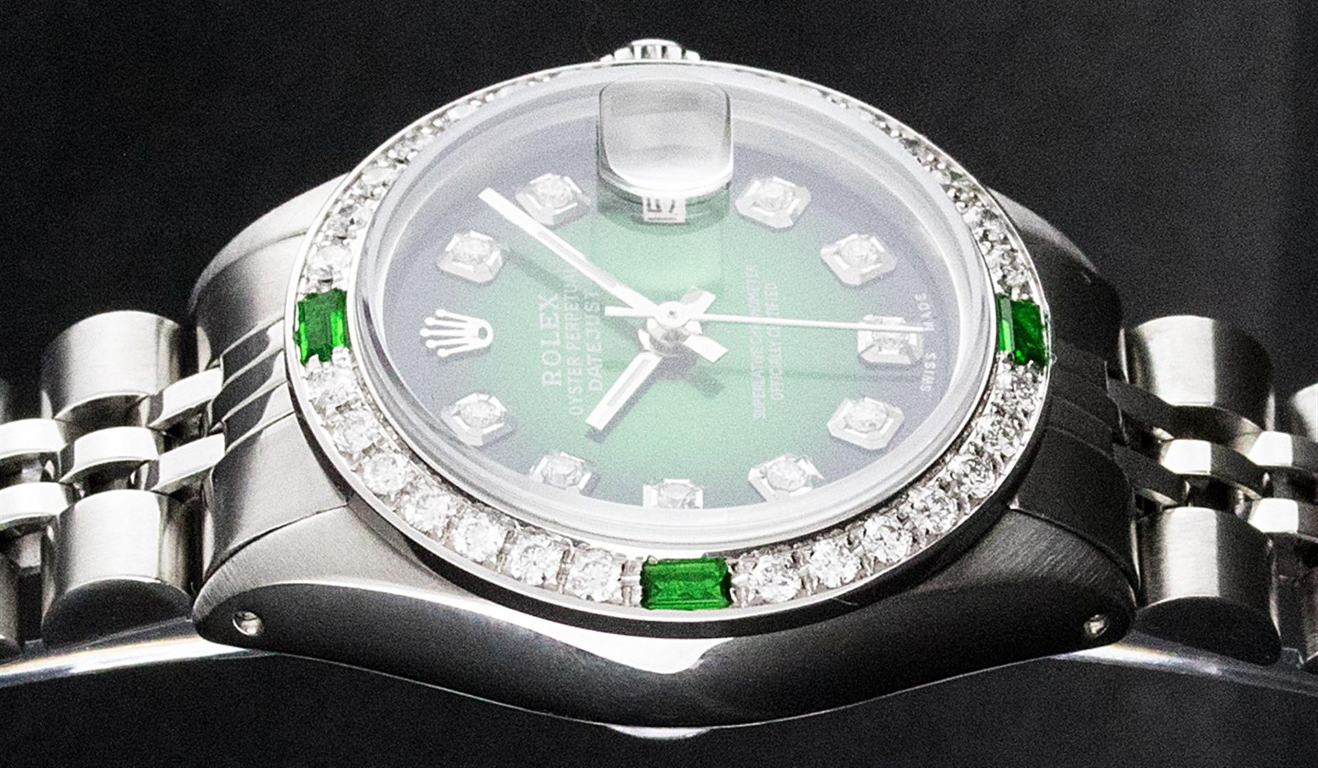 Rolex Ladies Stainless Steel 26MM Green Vignette Diamond Oyster Perpetual Dateju - Image 2 of 9