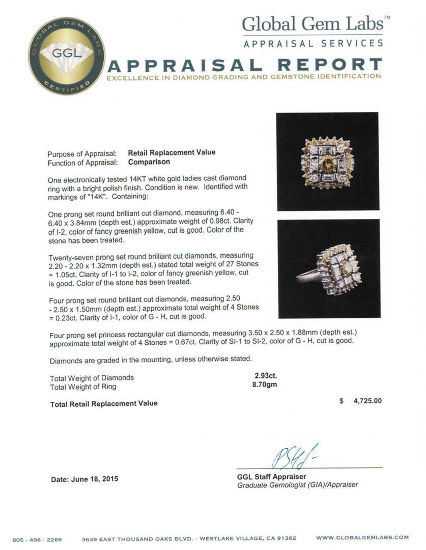 14KT White Gold 2.93 ctw Diamond Ring - Image 4 of 4