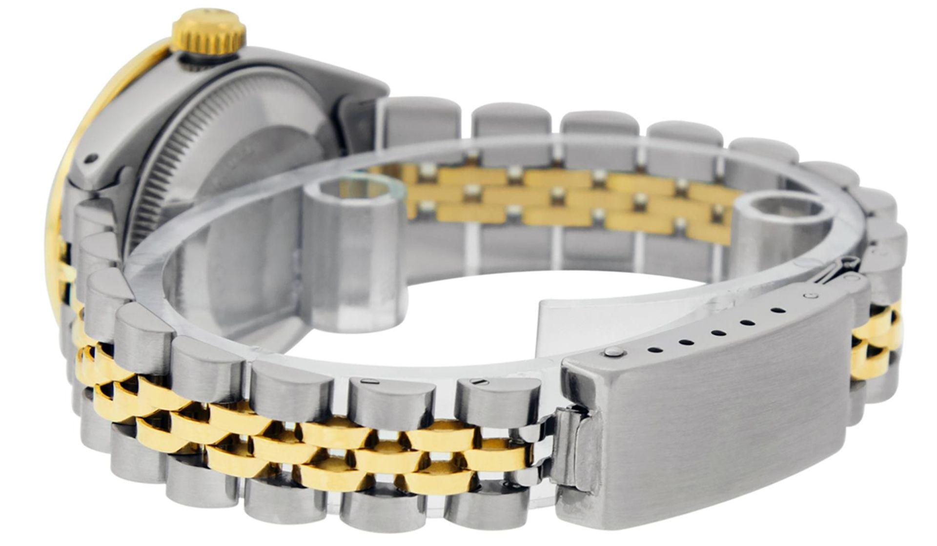 Rolex Ladies 2 Tone Green Diamond & Emerald Datejust Wristwatch - Image 8 of 9