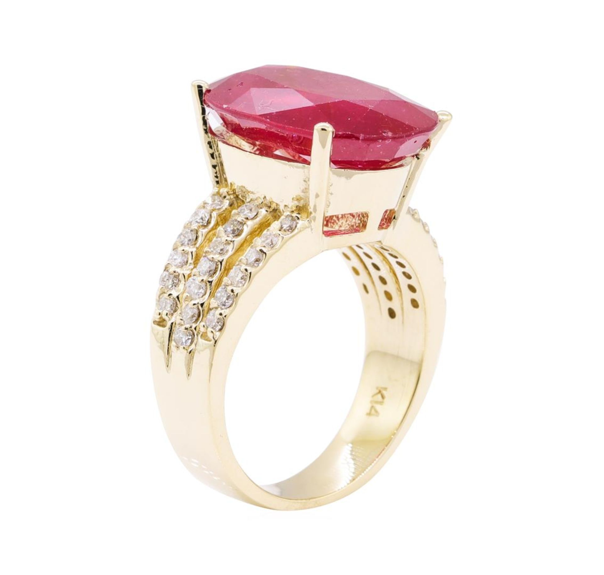 11.80 ctw Ruby And Diamond Ring - 14KT Yellow Gold - Image 4 of 5
